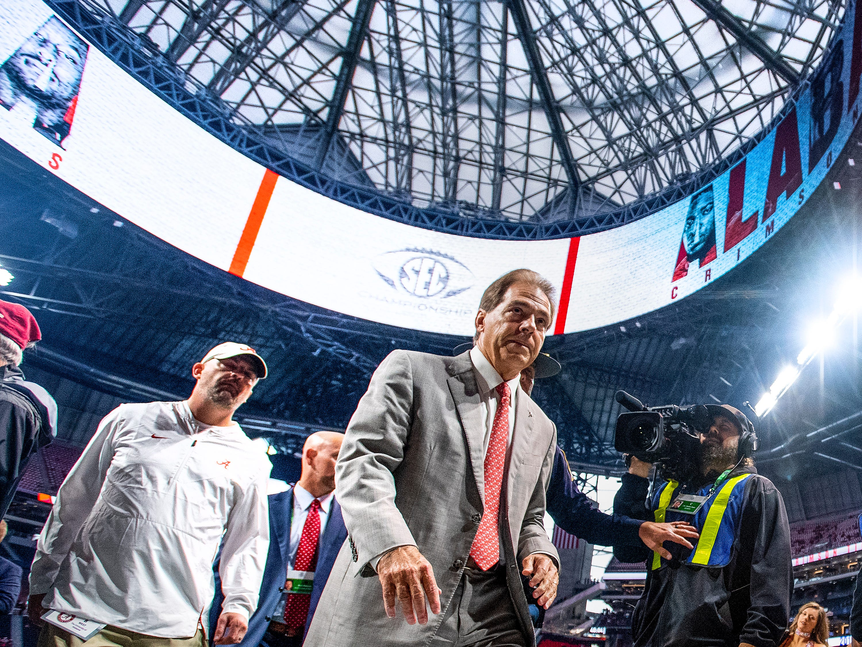 Alabama head coach Nick Saban arrives before the SEC Championship Game at Mercedes Benz Stadium in Atlanta, Ga., on Saturday December 1, 2018.