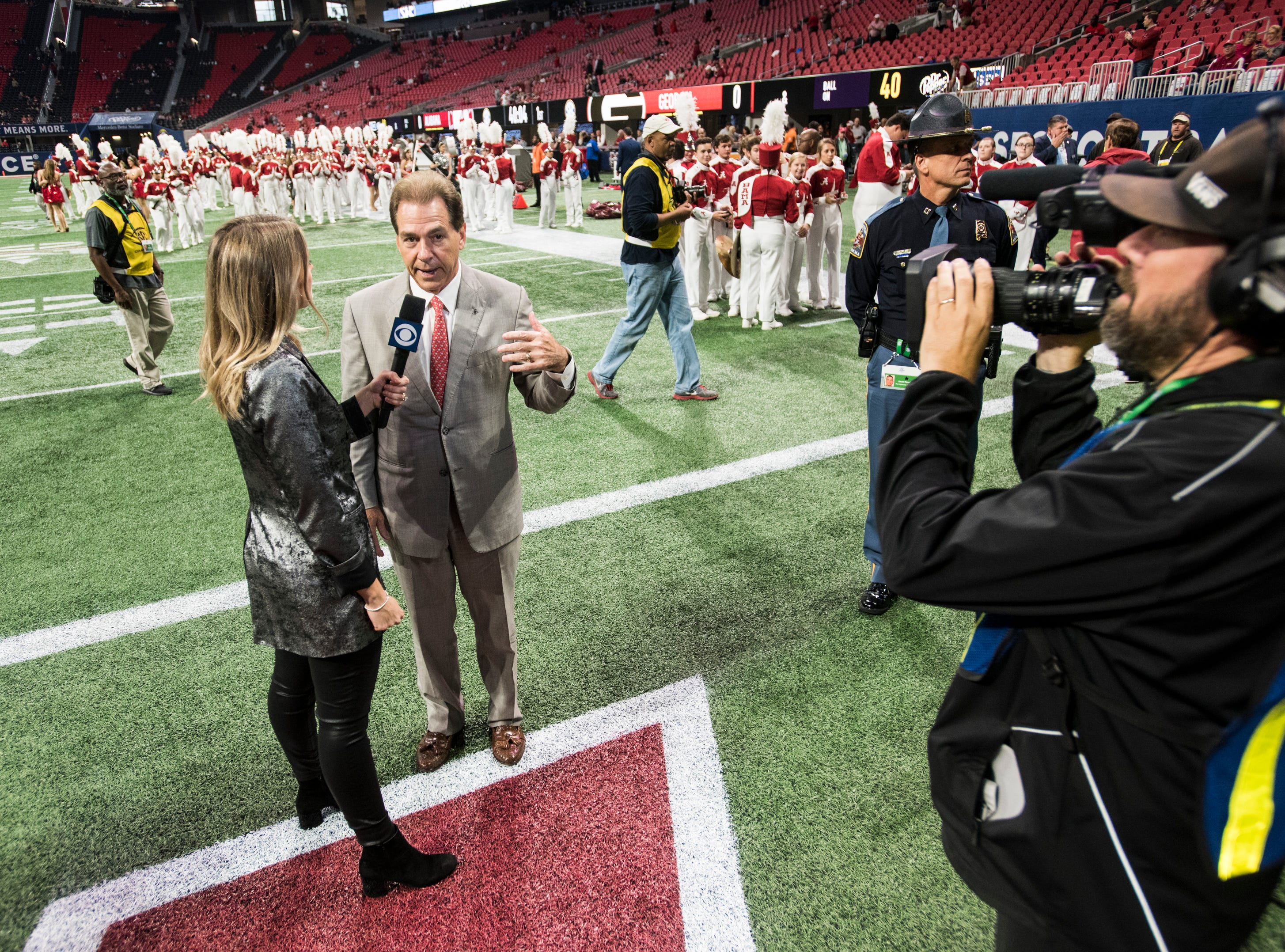 Alabama head coach Nick Saban is interviewed before the SEC Championship game at Mercedes-Benz Stadium in Atlanta, Ga., on Saturday Dec. 1, 2018.