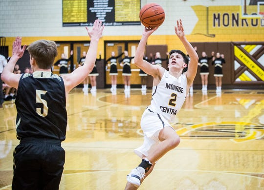 Monroe Central's Jackson Ullom, shown here putting up a shot against Daleville this season, is averaging 31 points in his last three games.