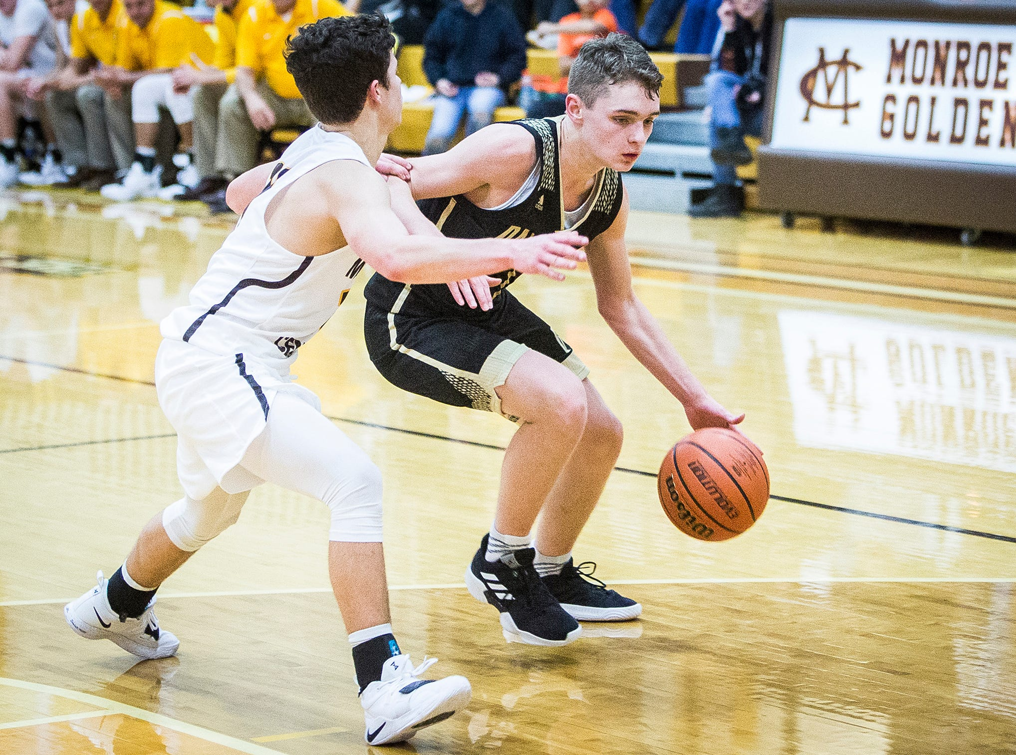 Daleville faces off against Monroe Central during their game at Monroe Central High School Friday, Nov. 30, 2018.