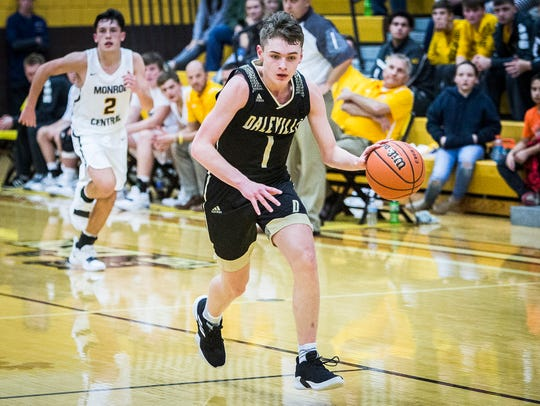 Daleville's Tim Arnold, shown here earlier this season against Monroe Central, led Broncos to a win over Wes-Del on Friday in the Delaware County Tournament semifinals.