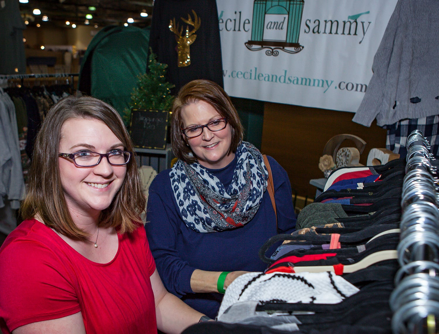 Kali Lentz and Rolanda Thurman shop at Mistletoe & Martinis on Friday, Nov. 30, the preview party for the Junior League of Murfreesboro's 2018 Hollyday Marketplace.