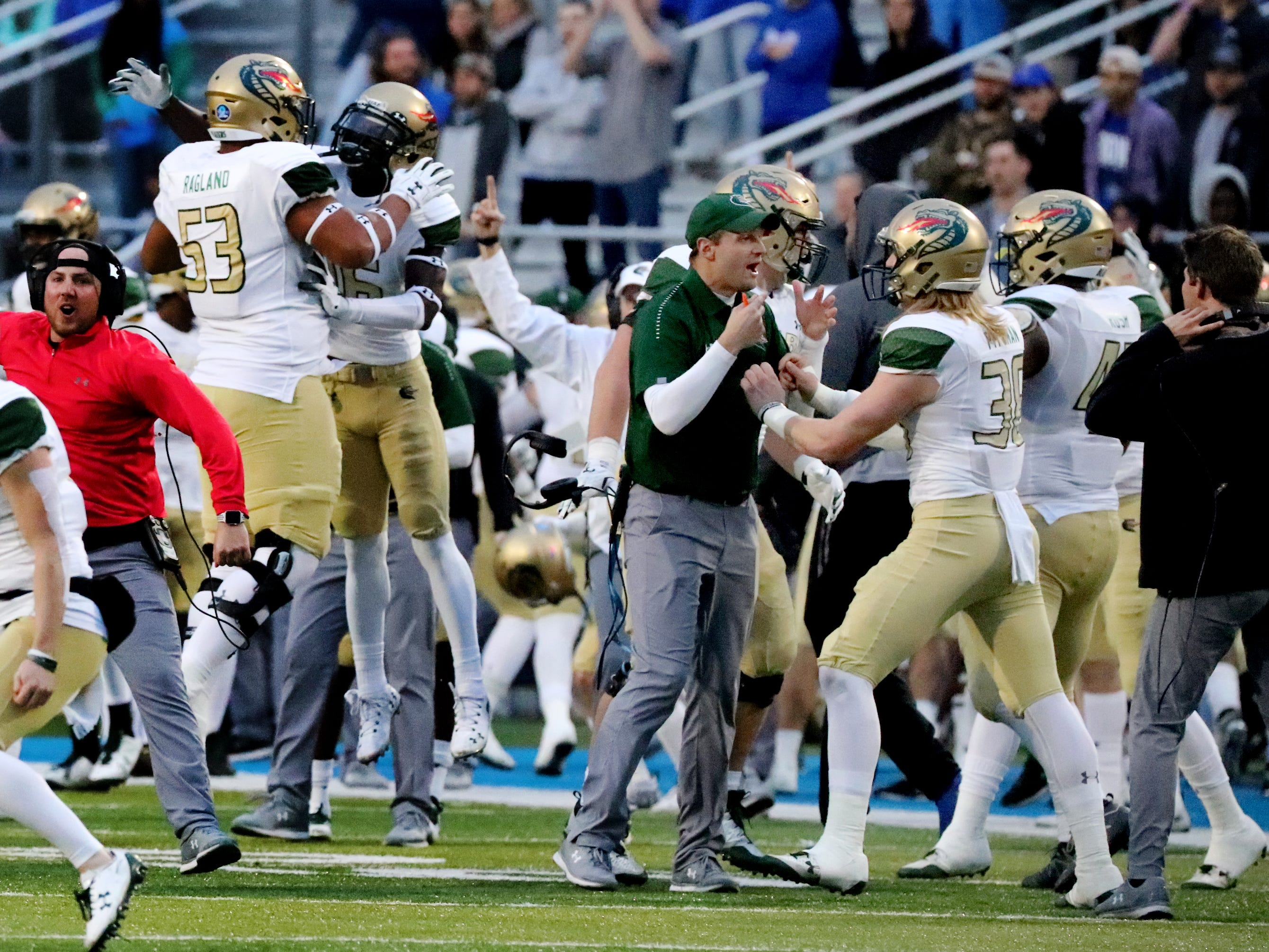 UAB celebrates after MTS has too many men on the field allowing them to regain possession of the ball in the final seconds of the game during the Conference USA Championship at MTSU on Saturday, Dec. 1, 2018.