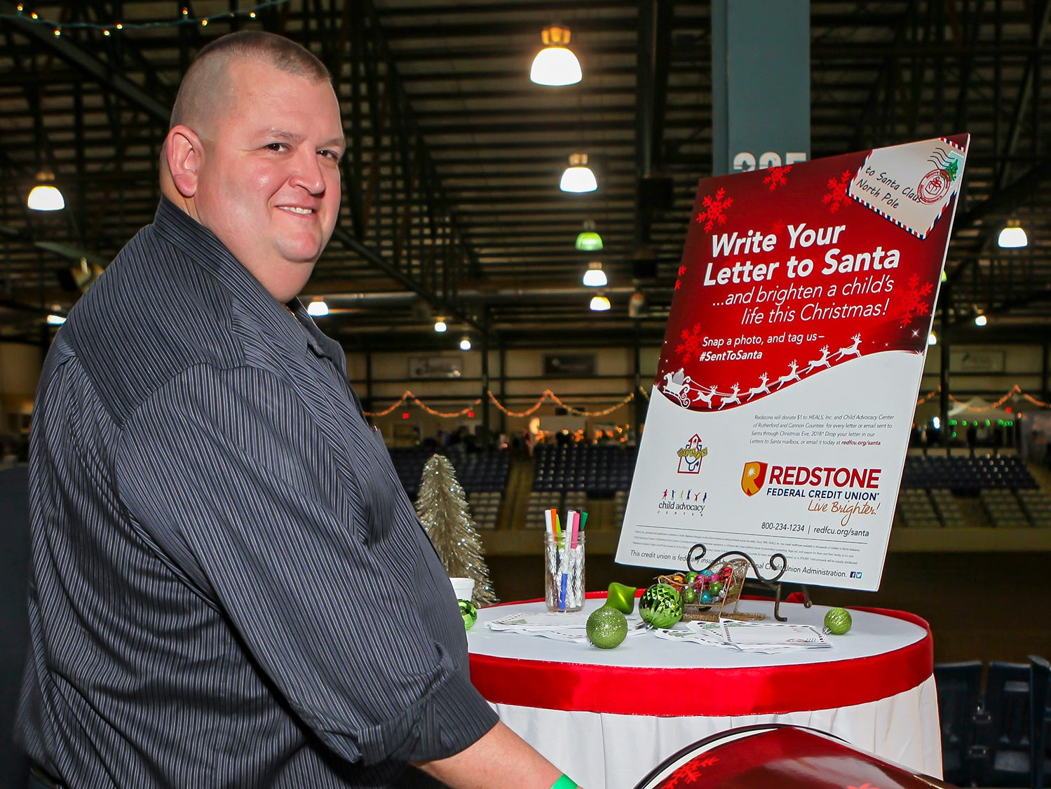 Keith Weatherly drops off a letter for Santa at Mistletoe & Martinis, the preview party for Junior League of Murfreesboro's 2018 Hollyday Marketplace.