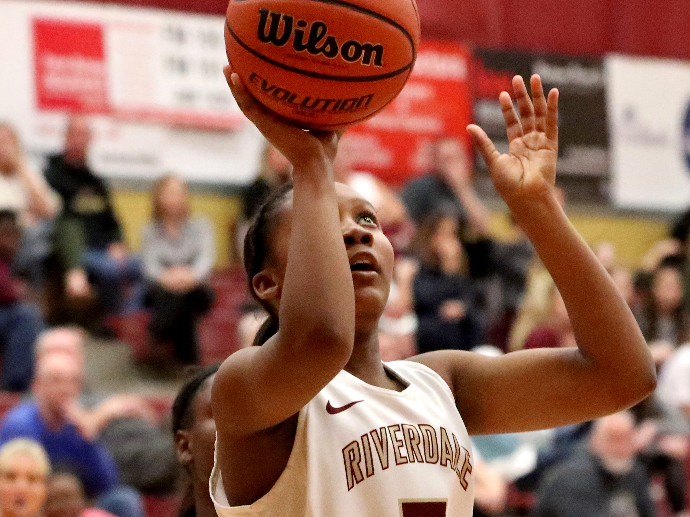RiverdaleÕs Acacia Hayes (3) goes up for a basket during the game against Lebanon at Riverdale on Friday, Nov. 30, 2018.