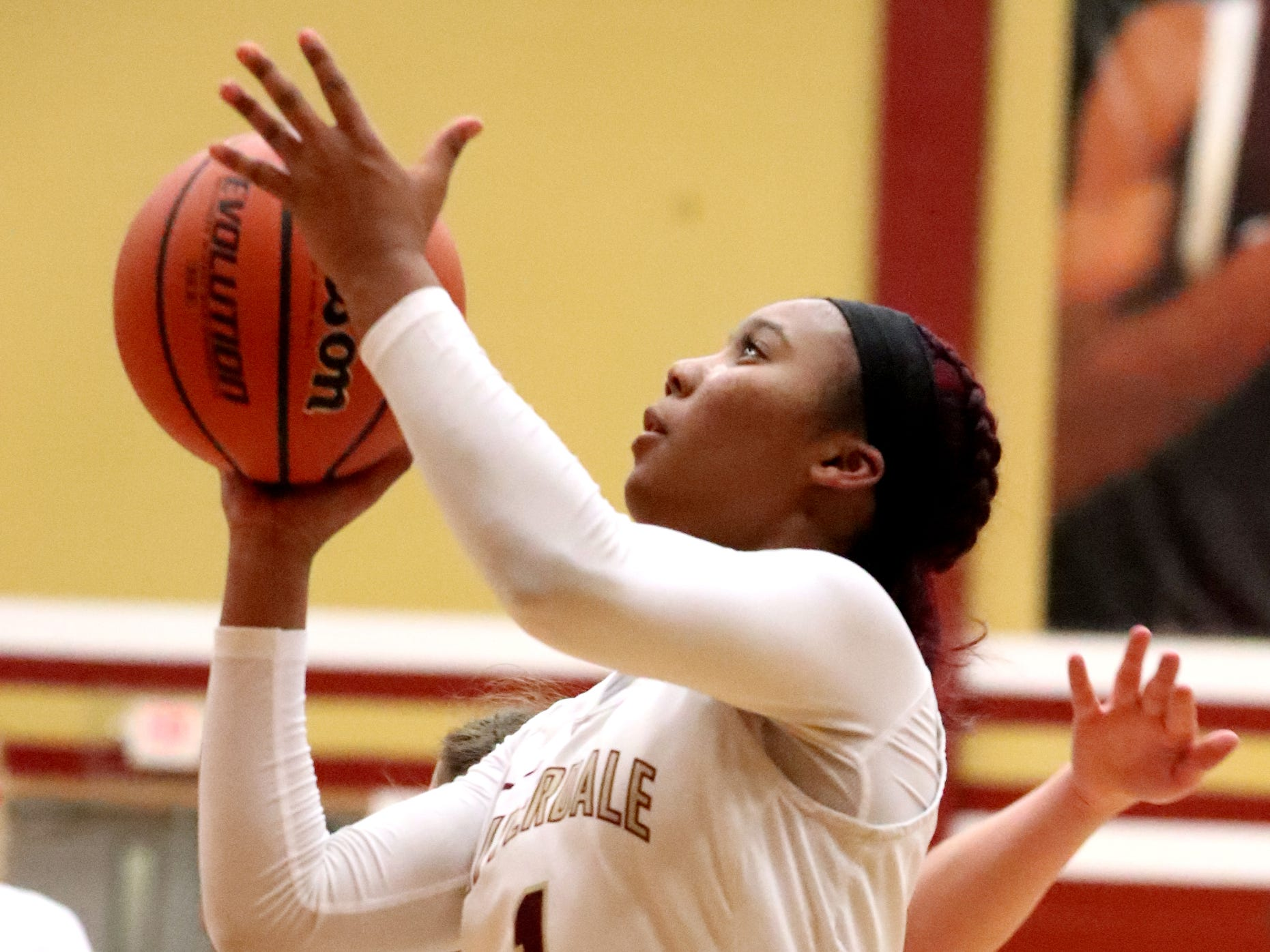 RiverdaleÕs Alasia Hayes (1) goes up for a basket during the game against Lebanon at Riverdale on Friday, Nov. 30, 2018.