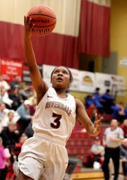 Riverdale's Acacia Hayes goes up for a basket during Friday's 48-45 win over Lebanon.
