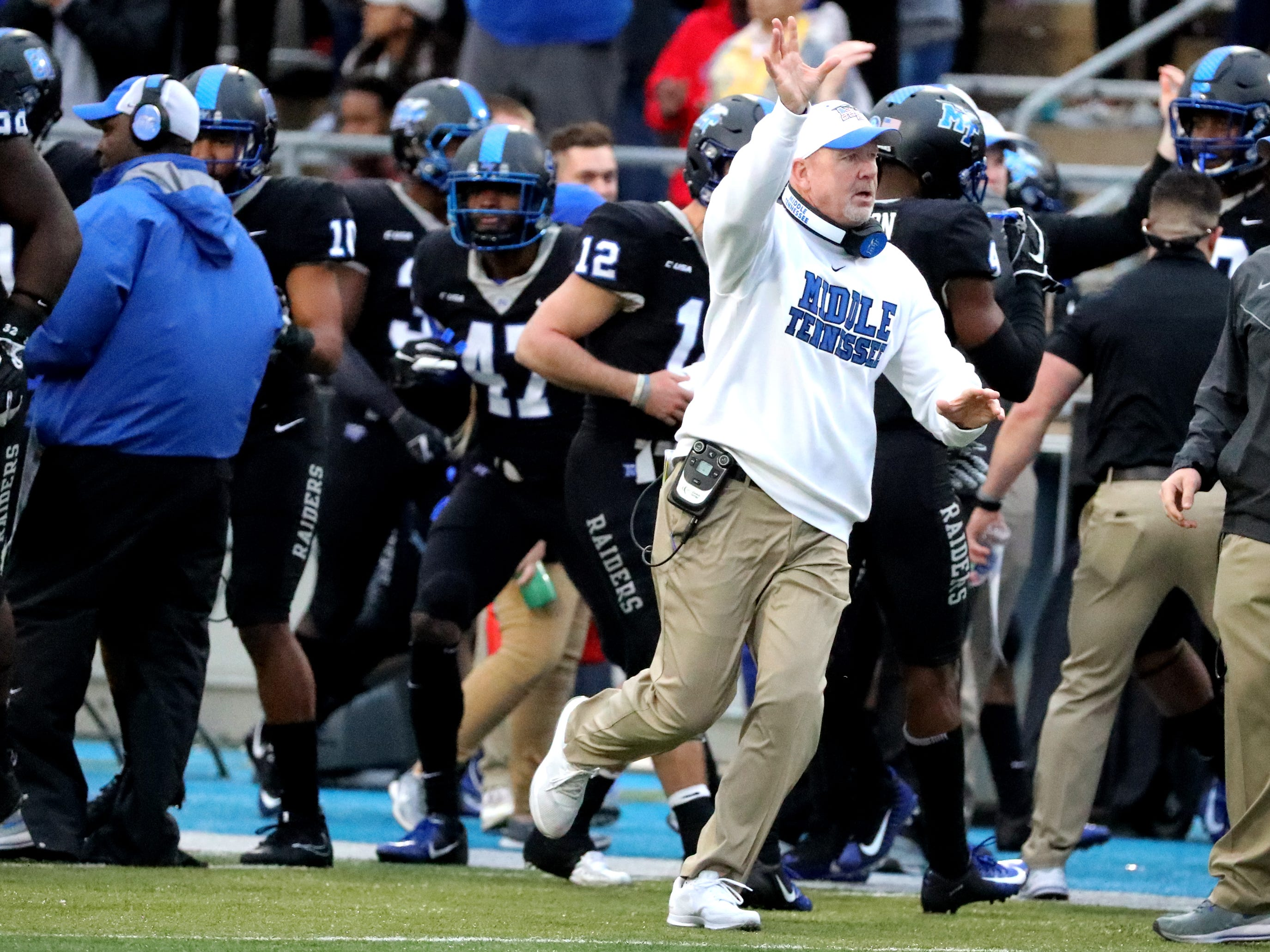 MTSU's head coach Rick Stockstill on the sidelines MTSU receives the ball from UAB during the Conference USA Championship at MTSU on Saturday, Dec. 1, 2018.