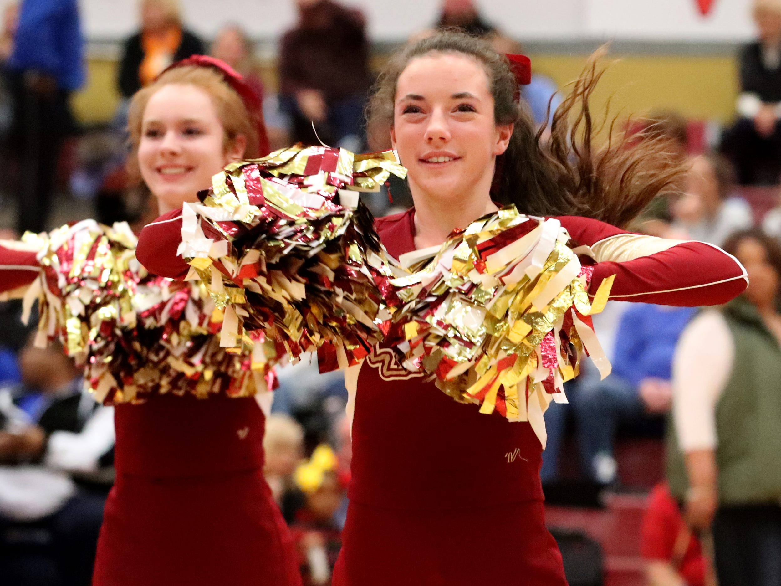 Riverdale cheerleaders perform during halftime of the Riberdale girls game against Lebanon during the game on Friday, Nov. 30, 2018.