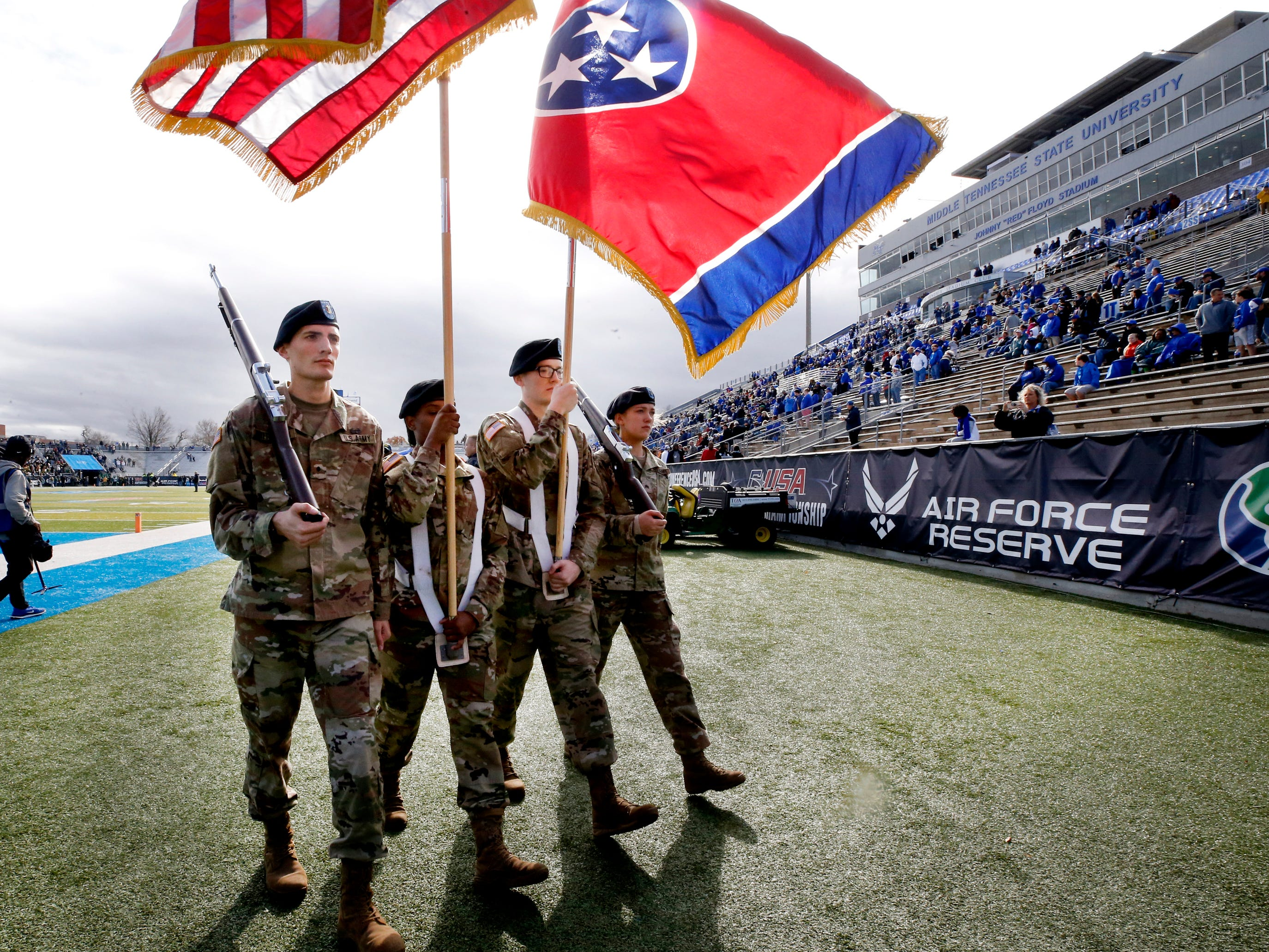 The color guard comes off the field after the anthem and before the start of the Conference USA Championship between MTSU and UAB, at MTSU on Saturday, Dec. 1, 2018.