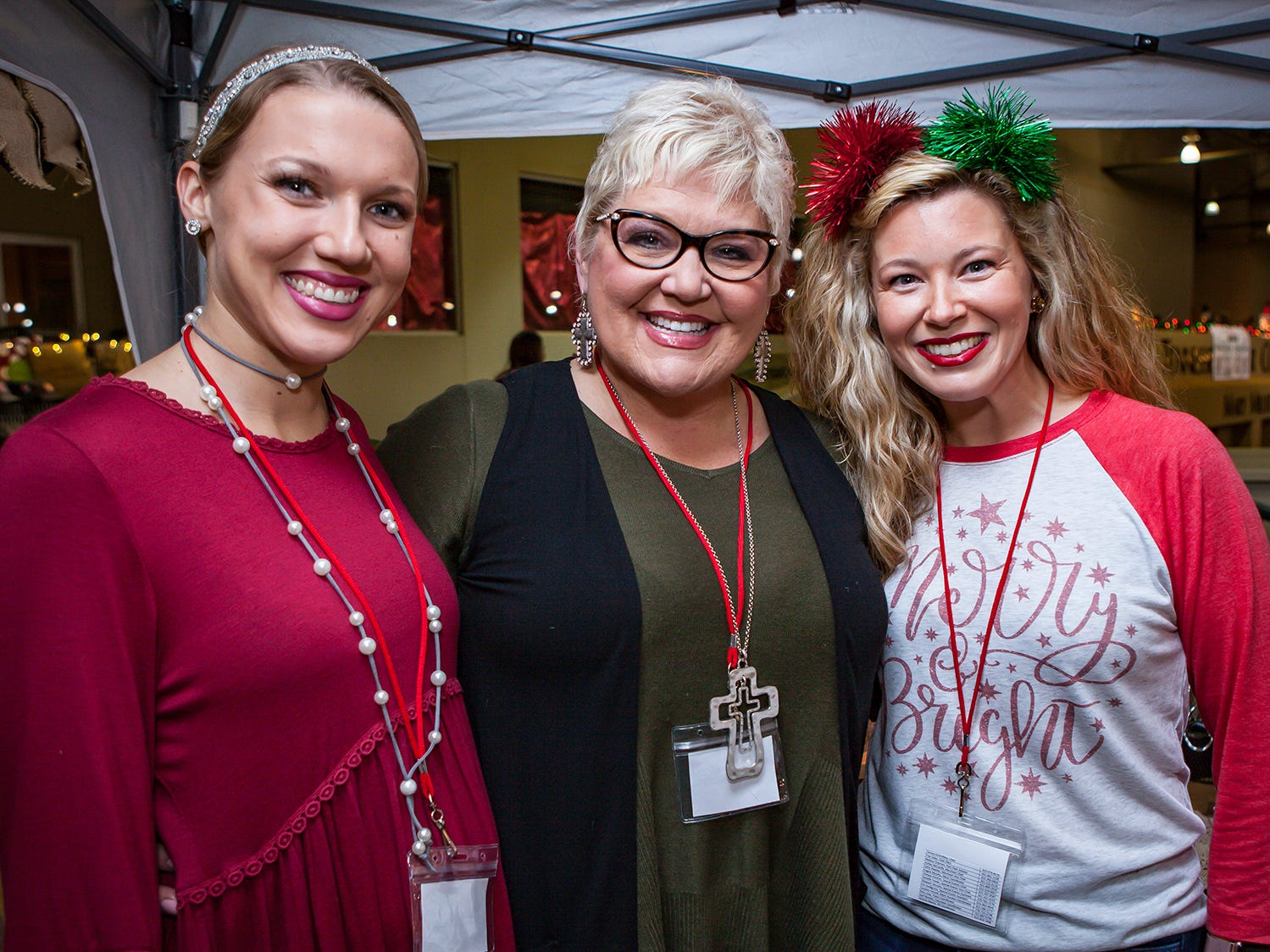 Shelby Steger, Sherri Miller and Chelsea Fancher at Mistletoe & Martinis, the preview party for Junior League of Murfreesboro's 2018 Hollyday Marketplace.