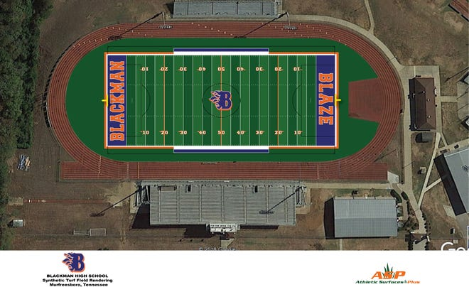 A rendering of what the Blackman High football field will look like once artificial turf is installed.