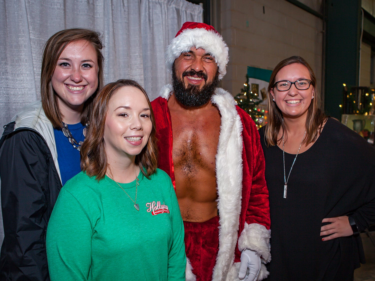 Mallory Johnson, Amber Kean, Santa Barry Campbell and Macey Johnson at Mistletoe & Martinis, the preview party for Junior League of Murfreesboro's 2018 Hollyday Marketplace.