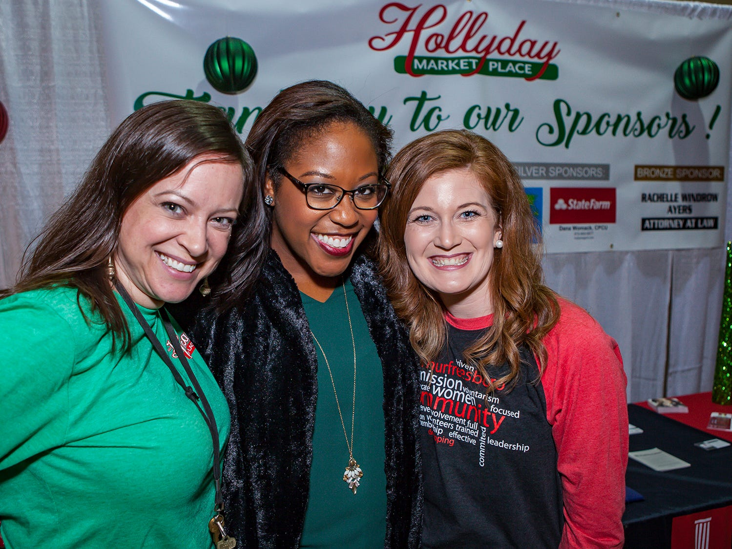 Laura Cloud, Regina Ward and Megan Henley at Mistletoe & Martinis, the preview party for Junior League of Murfreesboro's 2018 Hollyday Marketplace.
