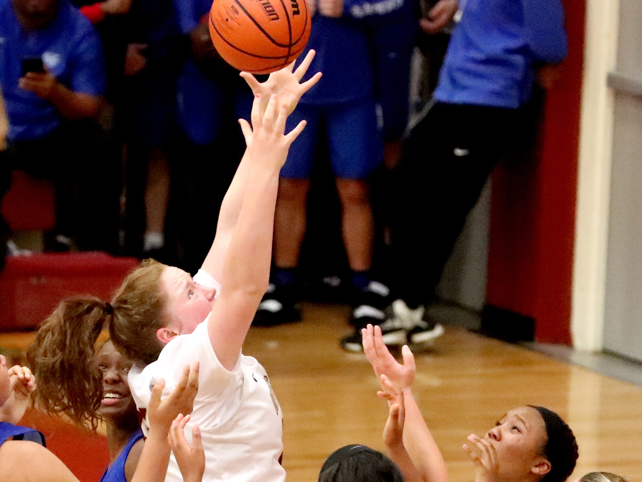 RiverdaleÕs Katelyn Worely (55) goes up for a rebound during the game against Lebanon on Friday, Nov. 30, 2018.