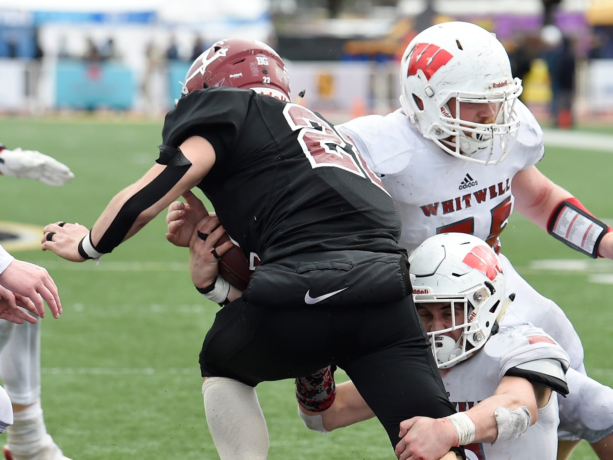 Cornersville's Eli Woodard (22) gains yards in the third quarter at the Class I-A BlueCross Bowl state championship at Tennessee Tech's Tucker Stadium in Cookeville, Tenn., on Saturday, Dec. 1, 2018.