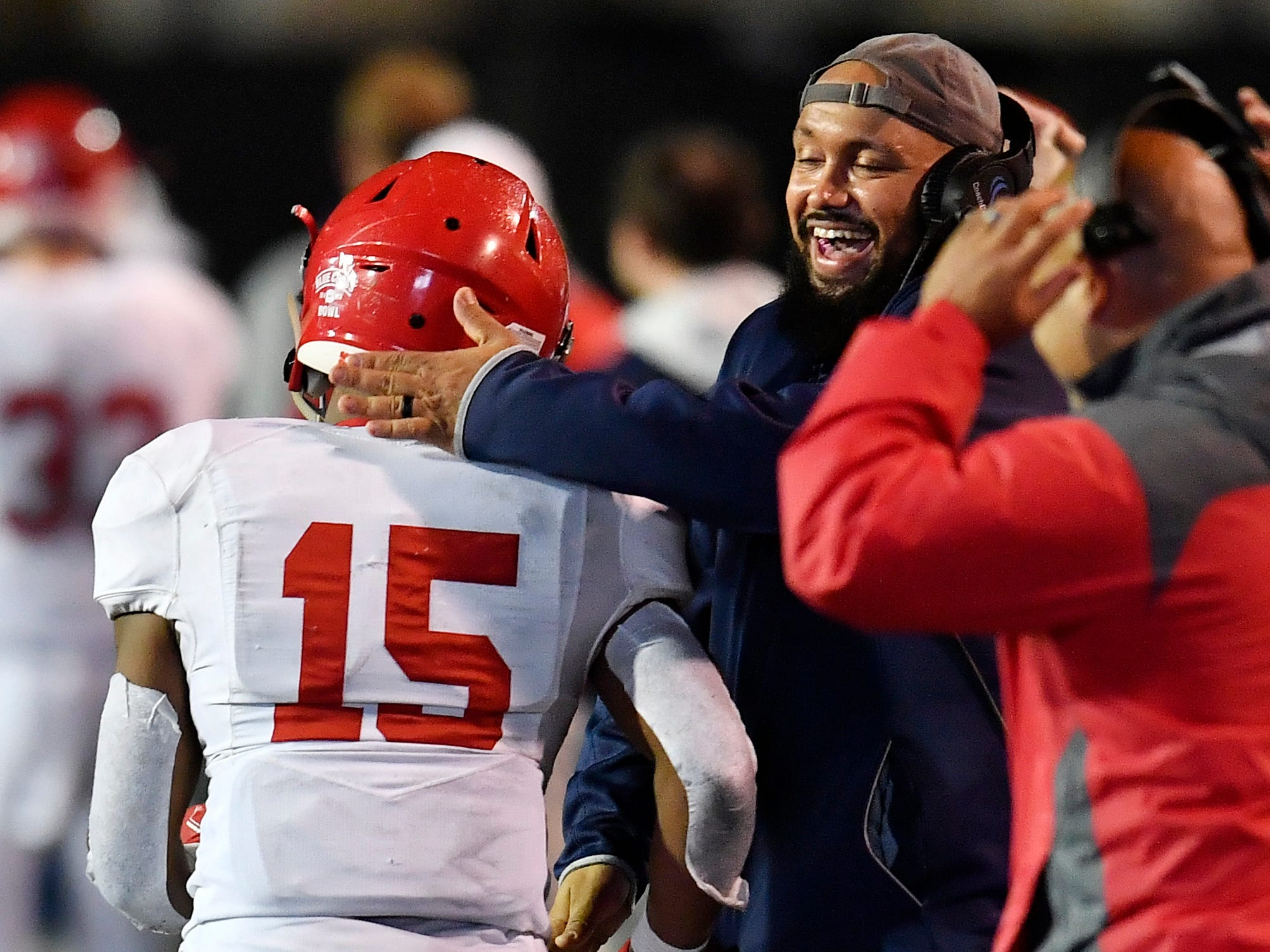 Brentwood Academy running back Jordan James (15) is congratulated after his touchdown in the second quarter at the Division II-AAA BlueCross Bowl state championship at Tennessee Tech's Tucker Stadium in Cookeville, Tenn., on Friday, Nov. 30, 2018.