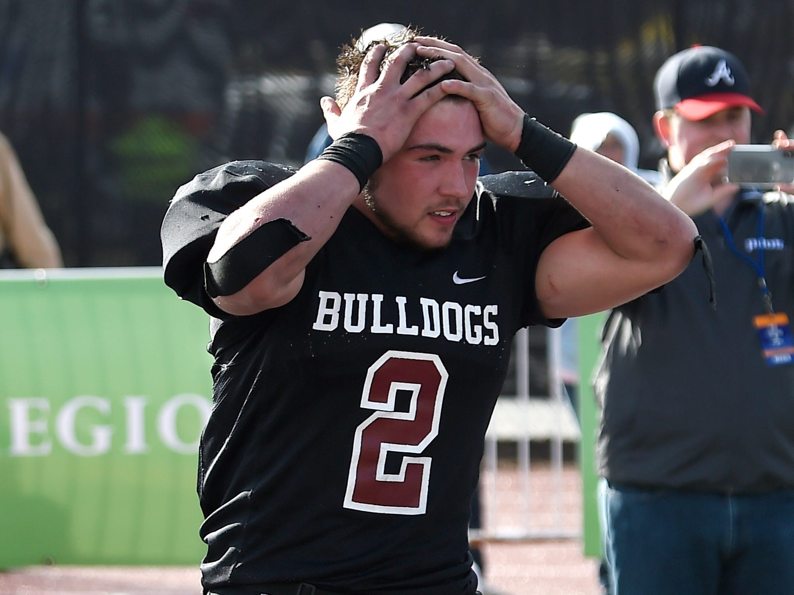 Cornersville's Trenton Warren (2) reacts to his team's loss to Whitwell in the Class I-A BlueCross Bowl state championship at Tennessee Tech's Tucker Stadium in Cookeville, Tenn., on Saturday, Dec. 1, 2018.