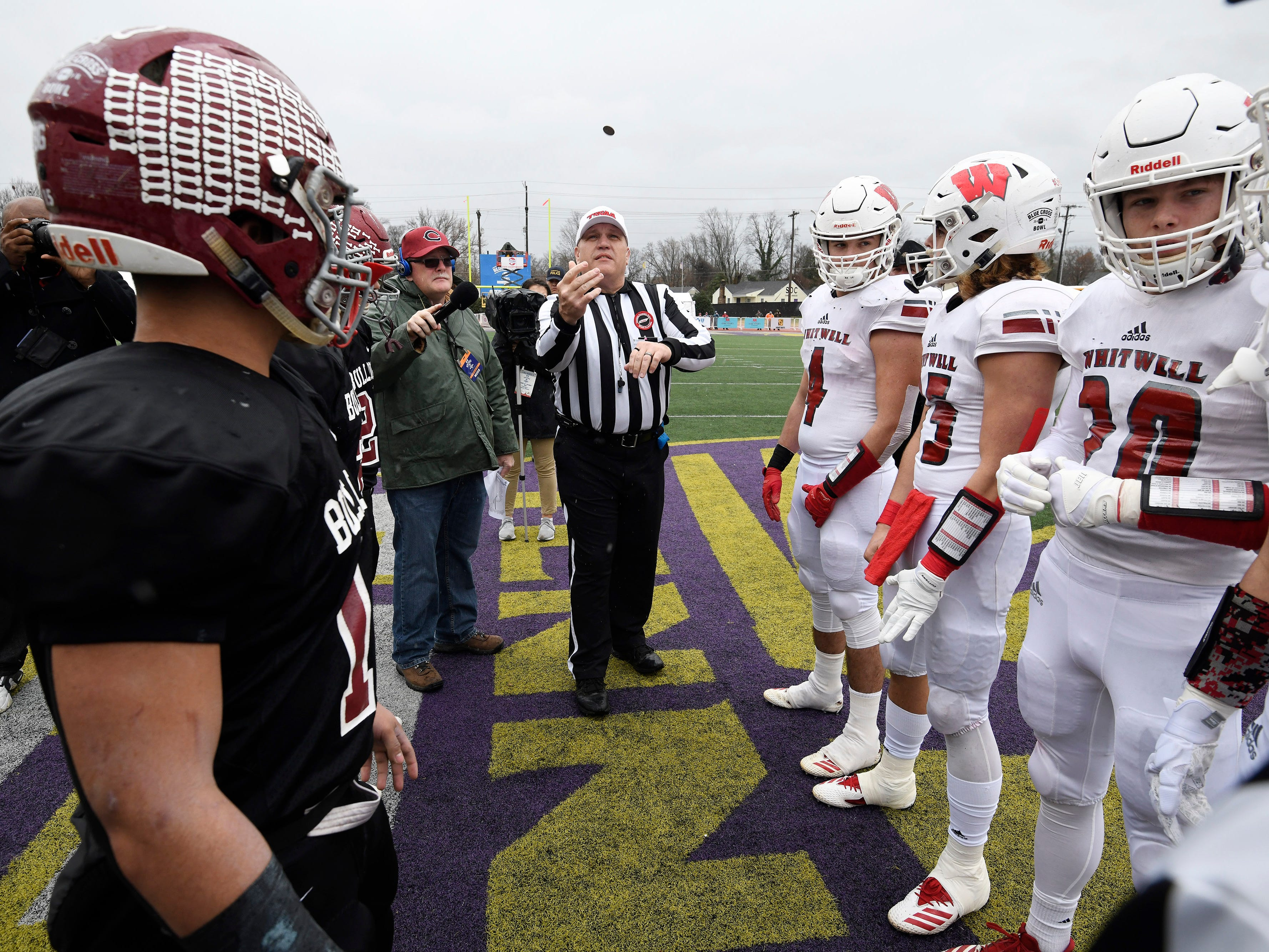 Cornersville and Whitwell players watch the coin toss at the Class I-A BlueCross Bowl state championship at Tennessee Tech's Tucker Stadium in Cookeville, Tenn., on Saturday, Dec. 1, 2018.