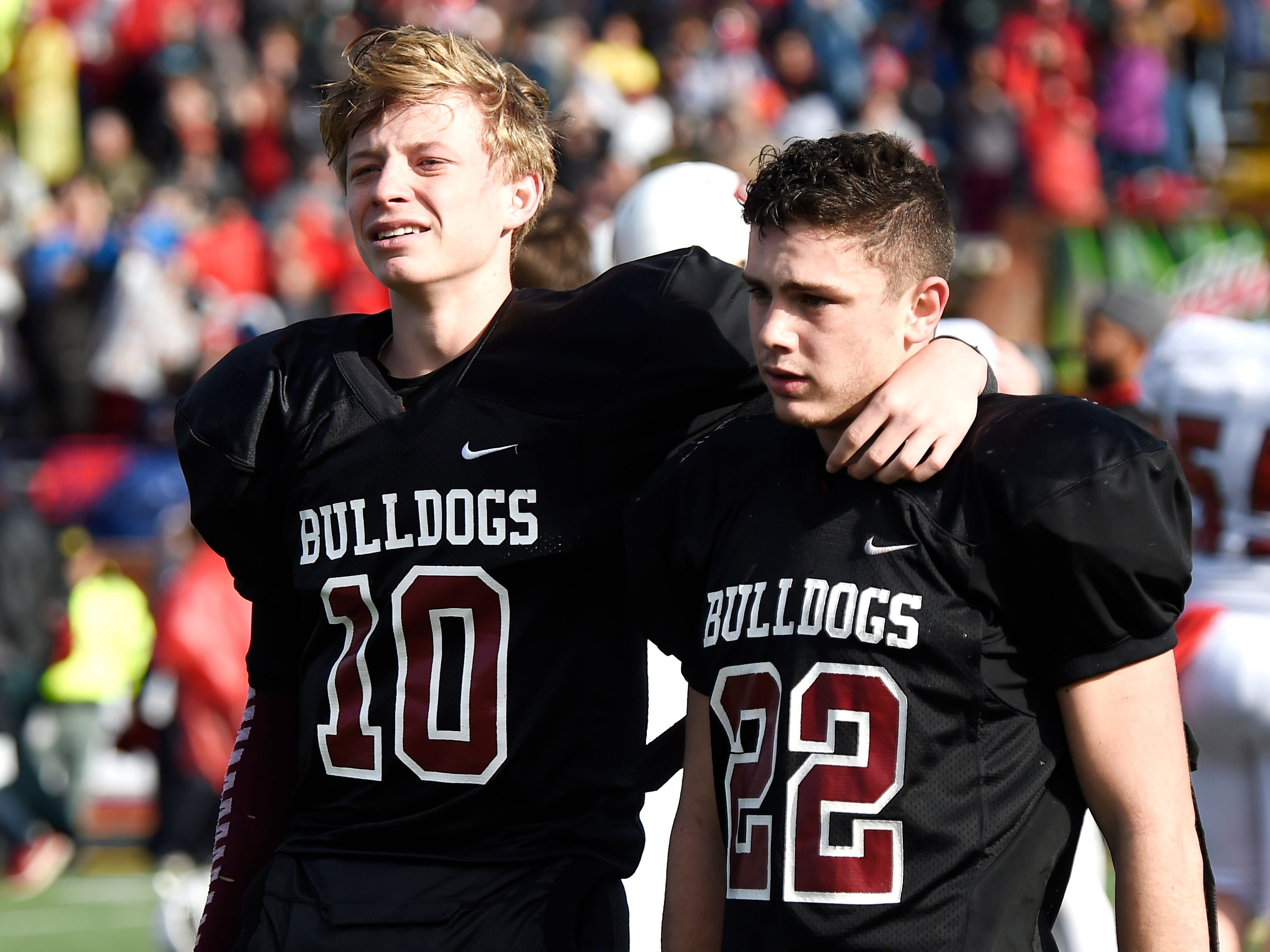 Cornersville's Henlee Mitchell (10) and Eli Woodard (22) react to the team's 7-6 loss to Whitwell in the Class I-A BlueCross Bowl state championship at Tennessee Tech's Tucker Stadium in Cookeville, Tenn., on Saturday, Dec. 1, 2018.