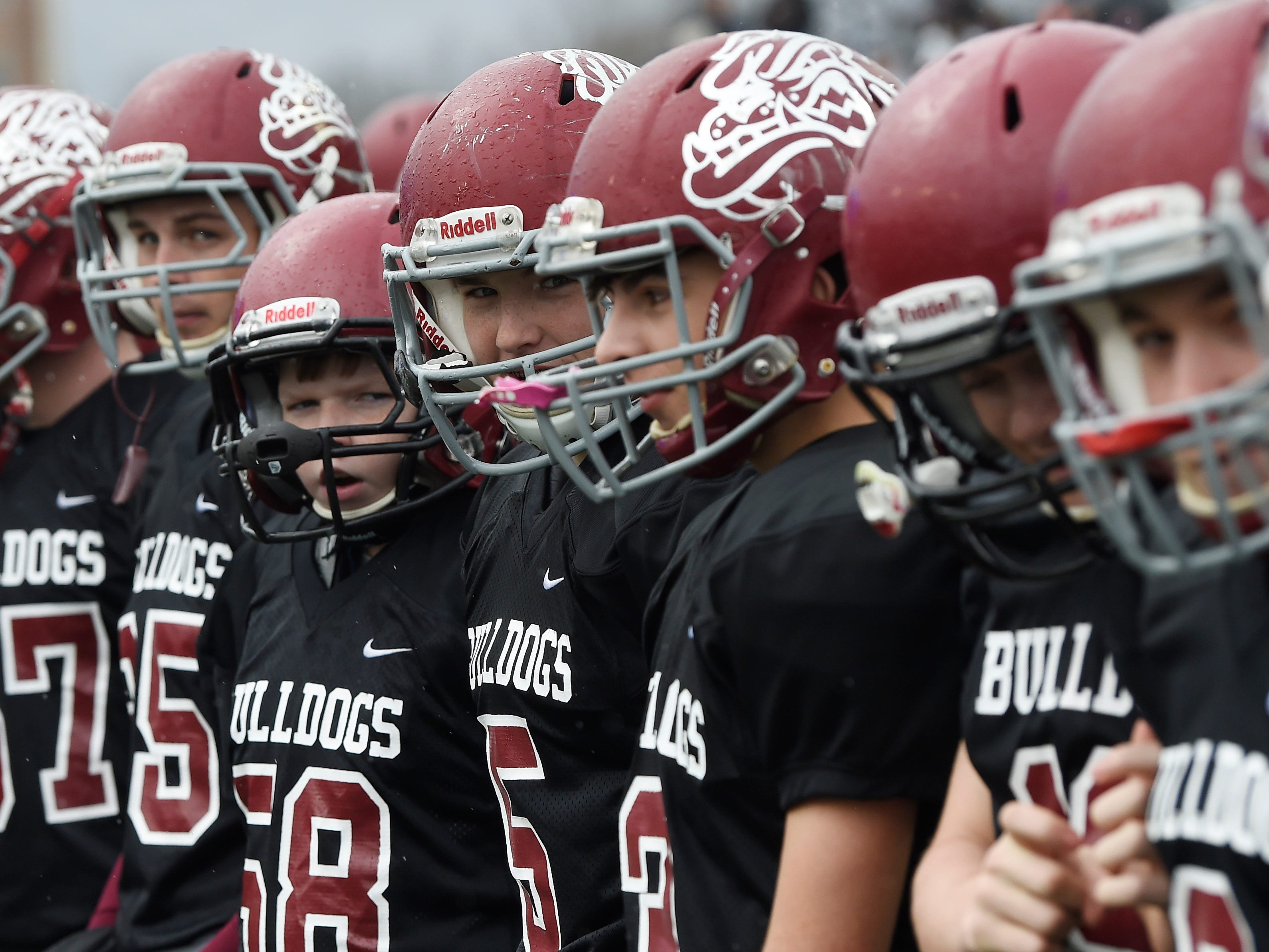 Cornersville players line up before the Class I-A BlueCross Bowl state championship at Tennessee Tech's Tucker Stadium in Cookeville, Tenn., on Saturday, Dec. 1, 2018.