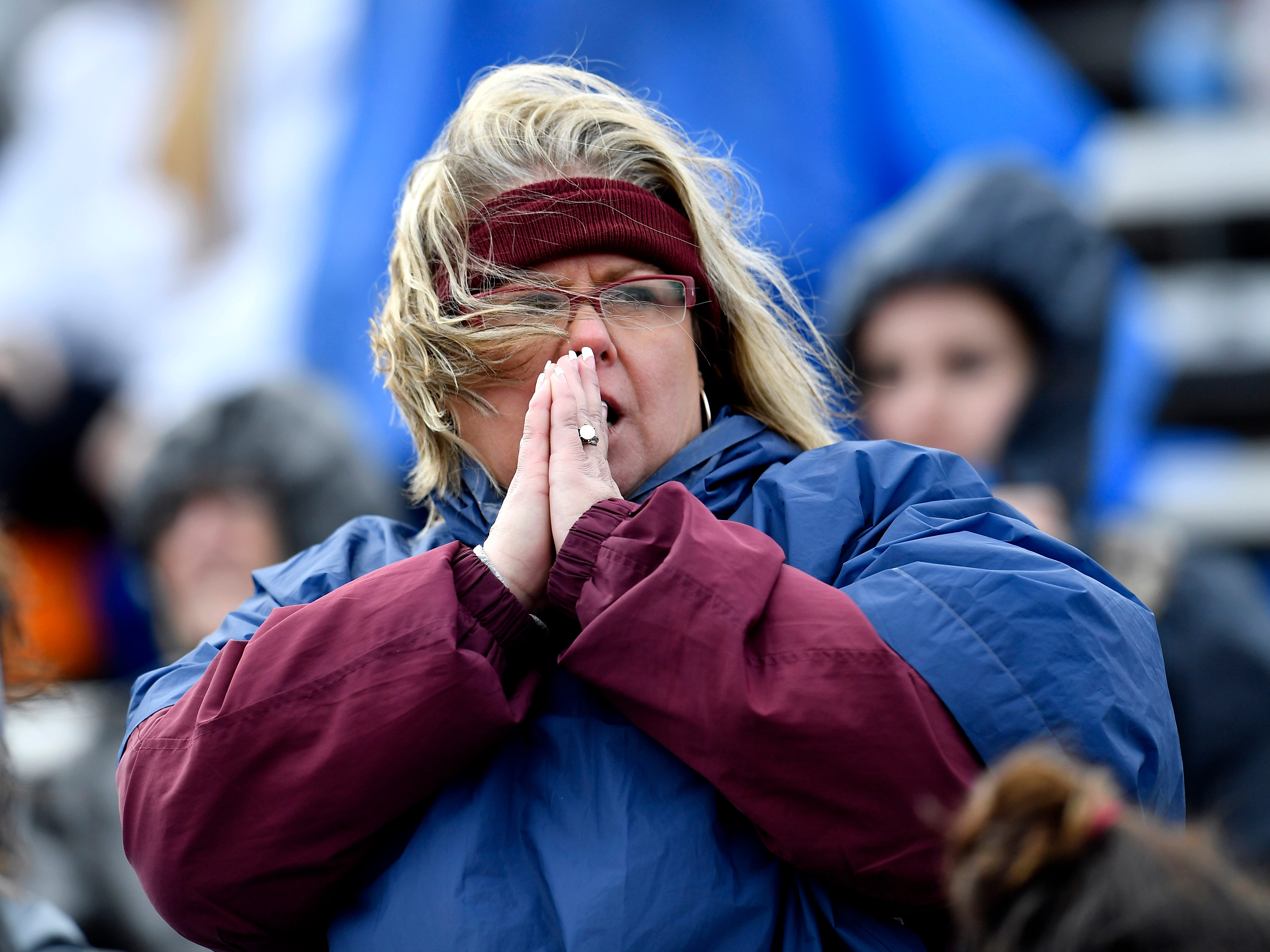 A Cornersville fan watches the action during the fourth quarter at the Class I-A BlueCross Bowl state championship at Tennessee Tech's Tucker Stadium in Cookeville, Tenn., on Saturday, Dec. 1, 2018.