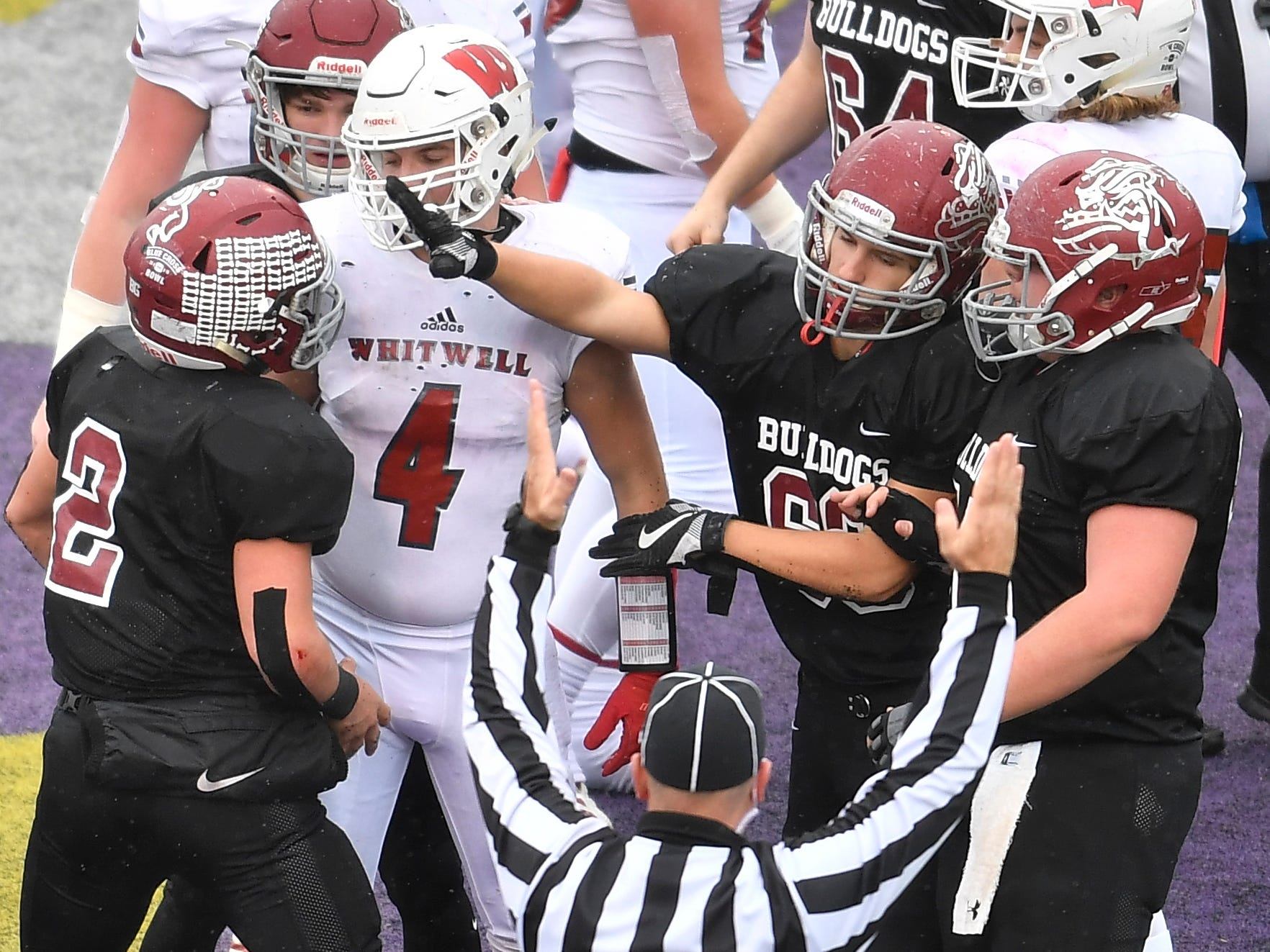 Cornersville players celebrate their touchdown in the first quarter at the Class I-A BlueCross Bowl state championship at Tennessee Tech's Tucker Stadium in Cookeville, Tenn., on Saturday, Dec. 1, 2018.