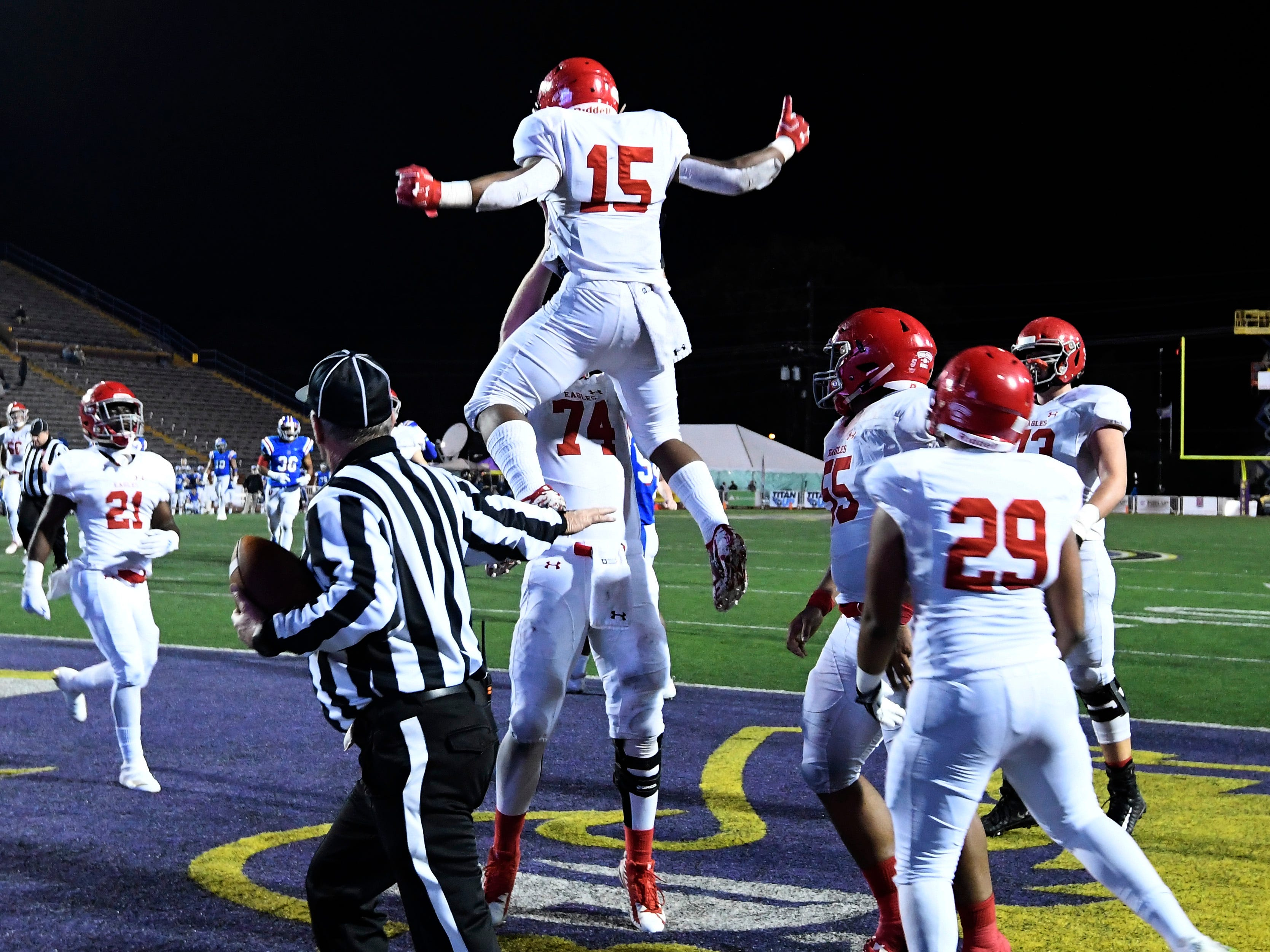 Brentwood Acad. running back Jordan James (15) celebrates his touchdown in the second quarter at the Division II-AAA BlueCross Bowl state championship at Tennessee Tech's Tucker Stadium in Cookeville, Tenn., on Friday, Nov. 30, 2018.