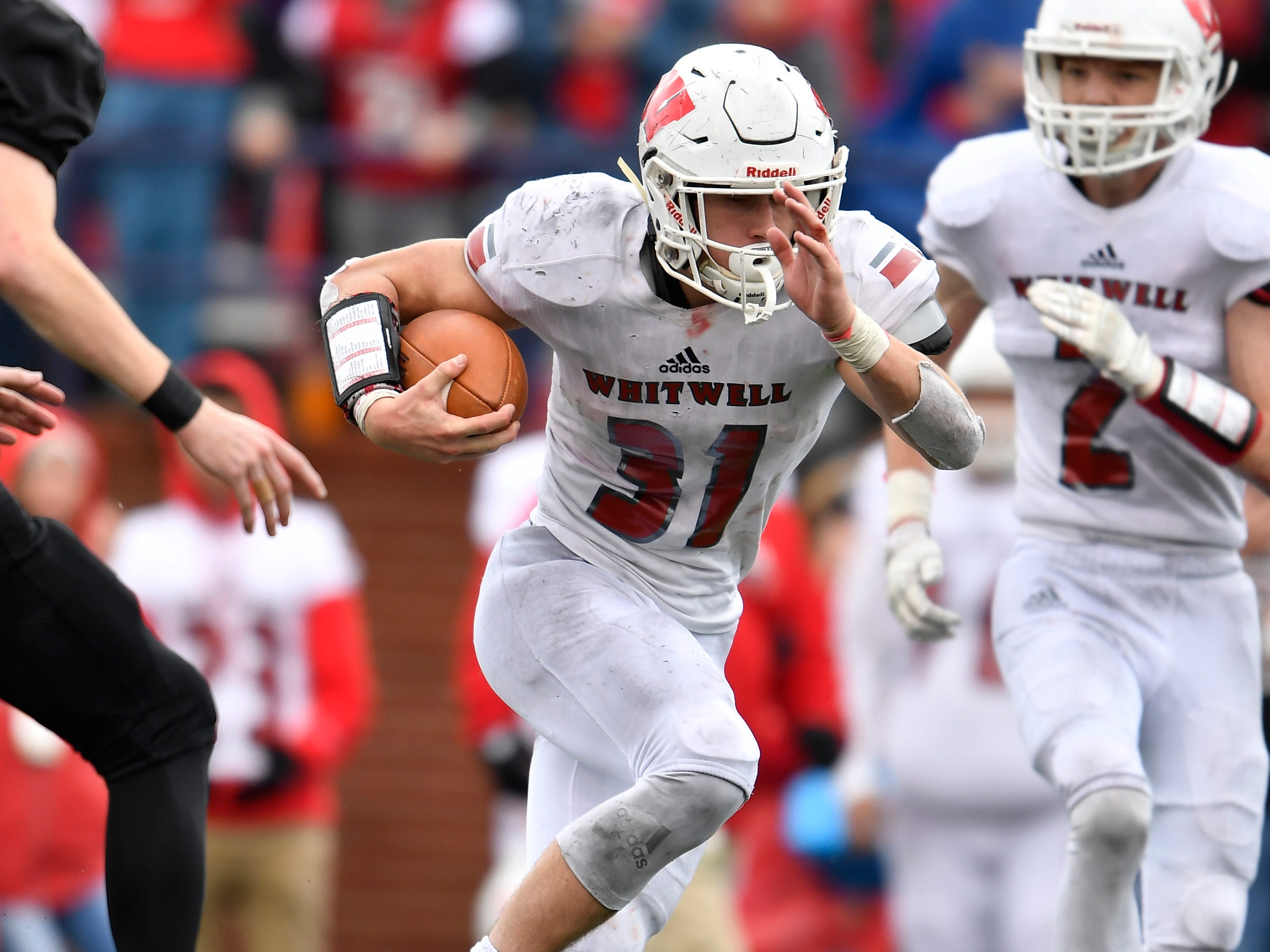 Whitwell running back Hudson Petty (31) races up the field in the third at the Class I-A BlueCross Bowl state championship at Tennessee Tech's Tucker Stadium in Cookeville, Tenn., on Saturday, Dec. 1, 2018.