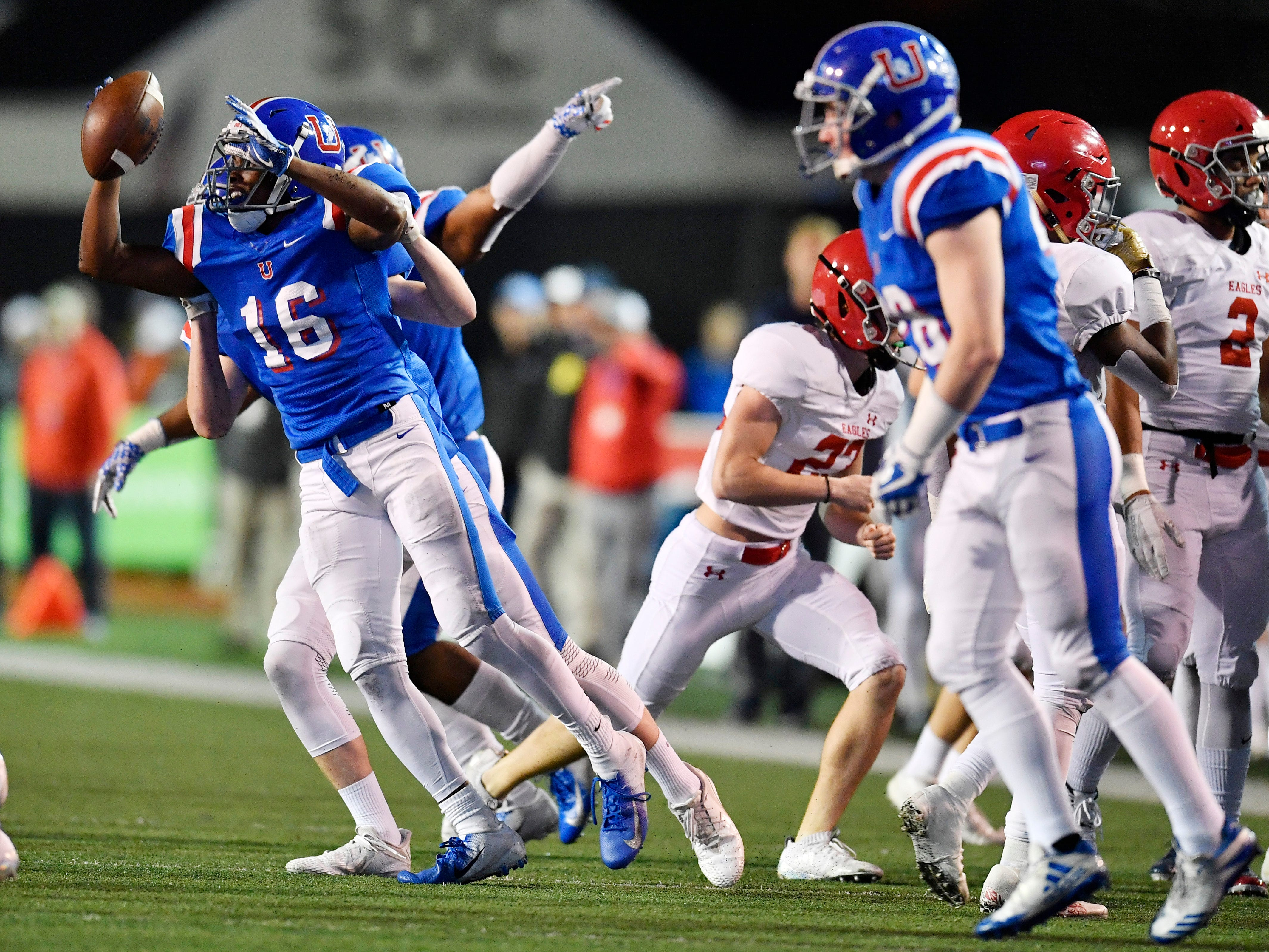 Memphis Univ. School wide receiver Roderic Lewis (16) celebrates a kickoff recovery in the first half against Brentwood Academy at the Division II-AAA BlueCross Bowl state championship at Tennessee Tech's Tucker Stadium in Cookeville, Tenn., on Friday, Nov. 30, 2018.