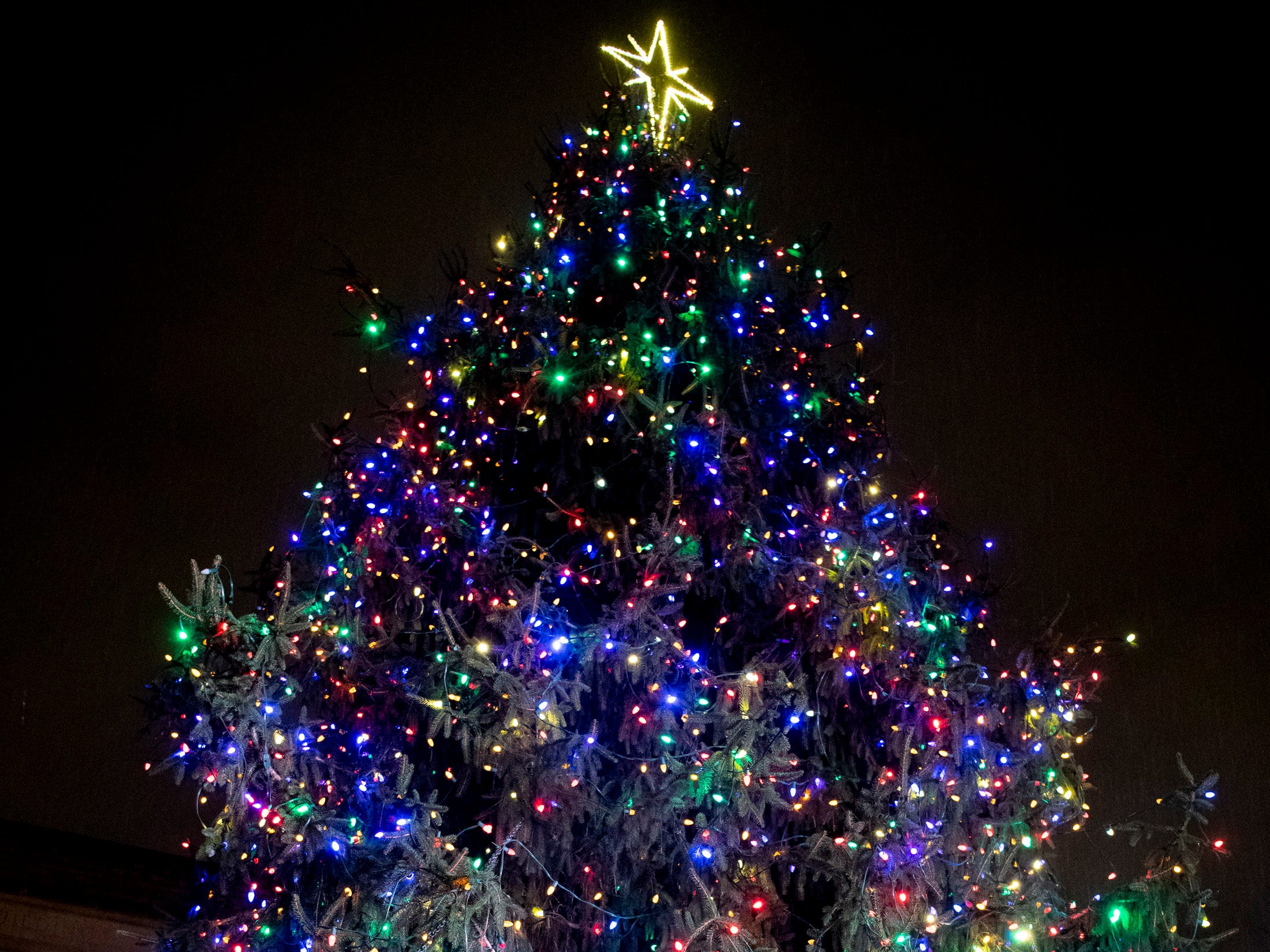 The lit tree during the Metro Nashville Christmas Tree Lighting event at Public Square Park in Nashville, Tenn., Friday, Nov. 30, 2018.