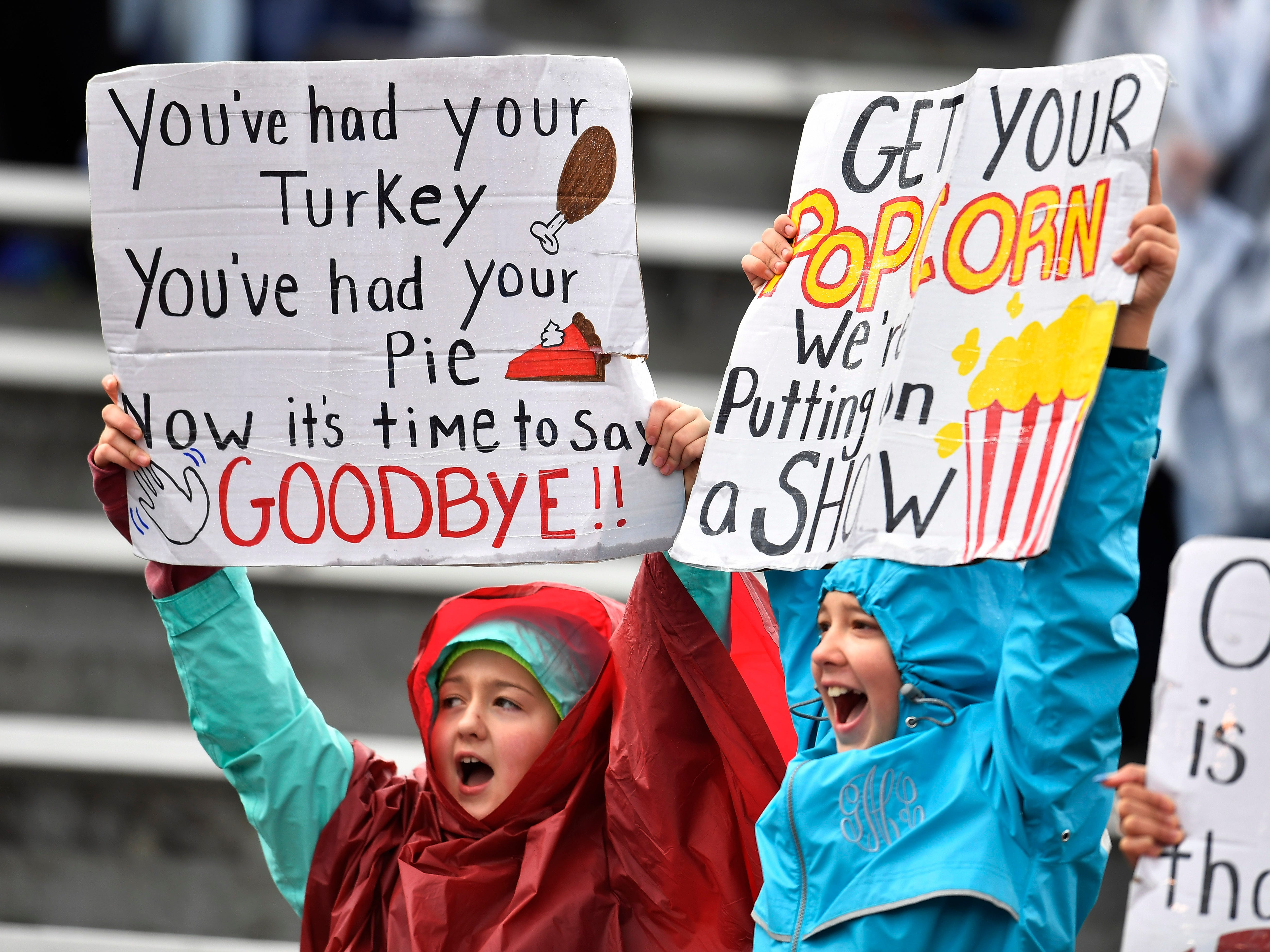 Cornersville fans cheer for their team in the first half at the Class I-A BlueCross Bowl state championship at Tennessee Tech's Tucker Stadium in Cookeville, Tenn., on Saturday, Dec. 1, 2018.