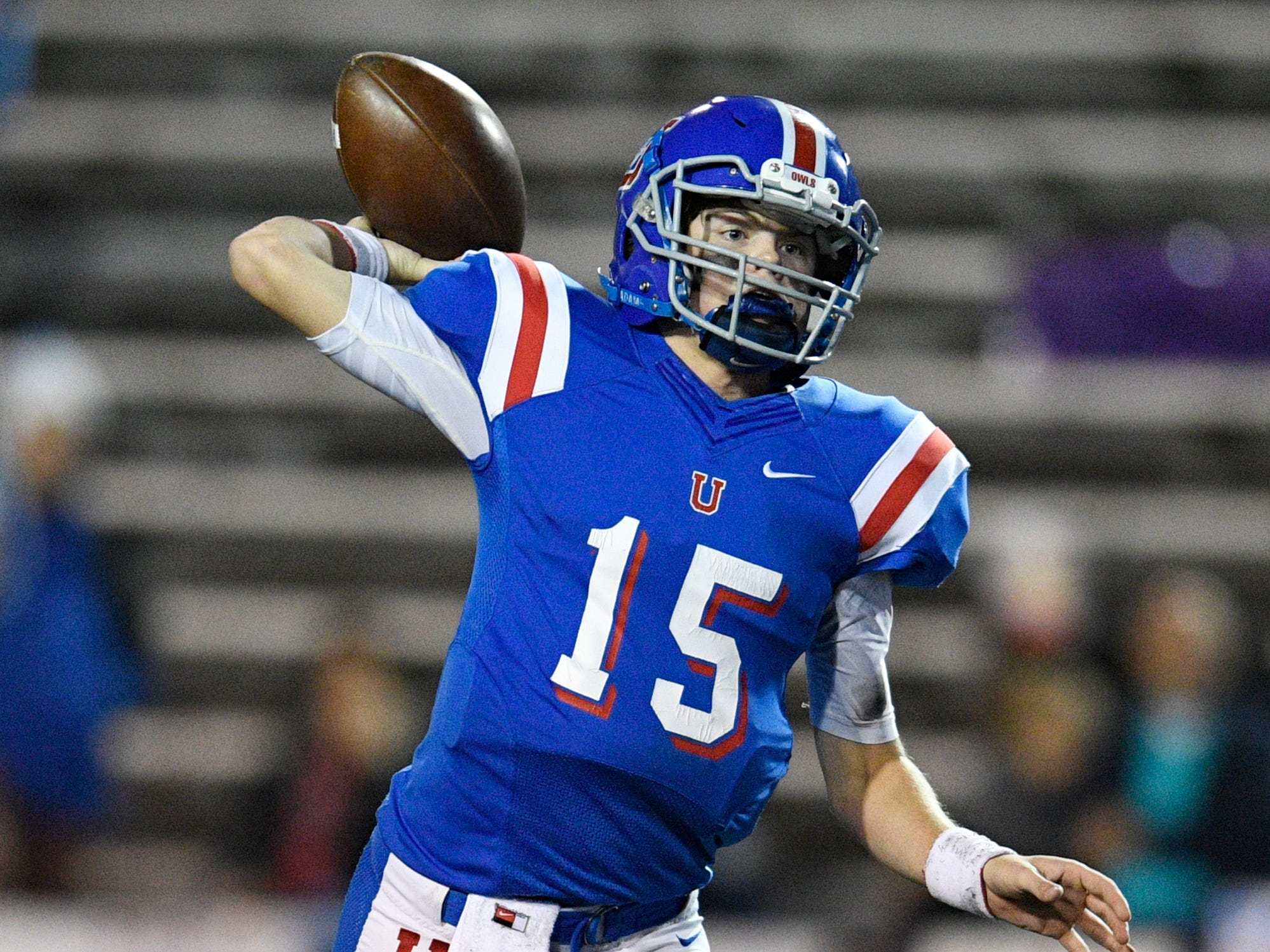 Memphis Univ. School quarterback Sellers Shy (15) throws in the first half at the Division II-AAA BlueCross Bowl state championship at Tennessee Tech's Tucker Stadium in Cookeville, Tenn., on Friday, Nov. 30, 2018.