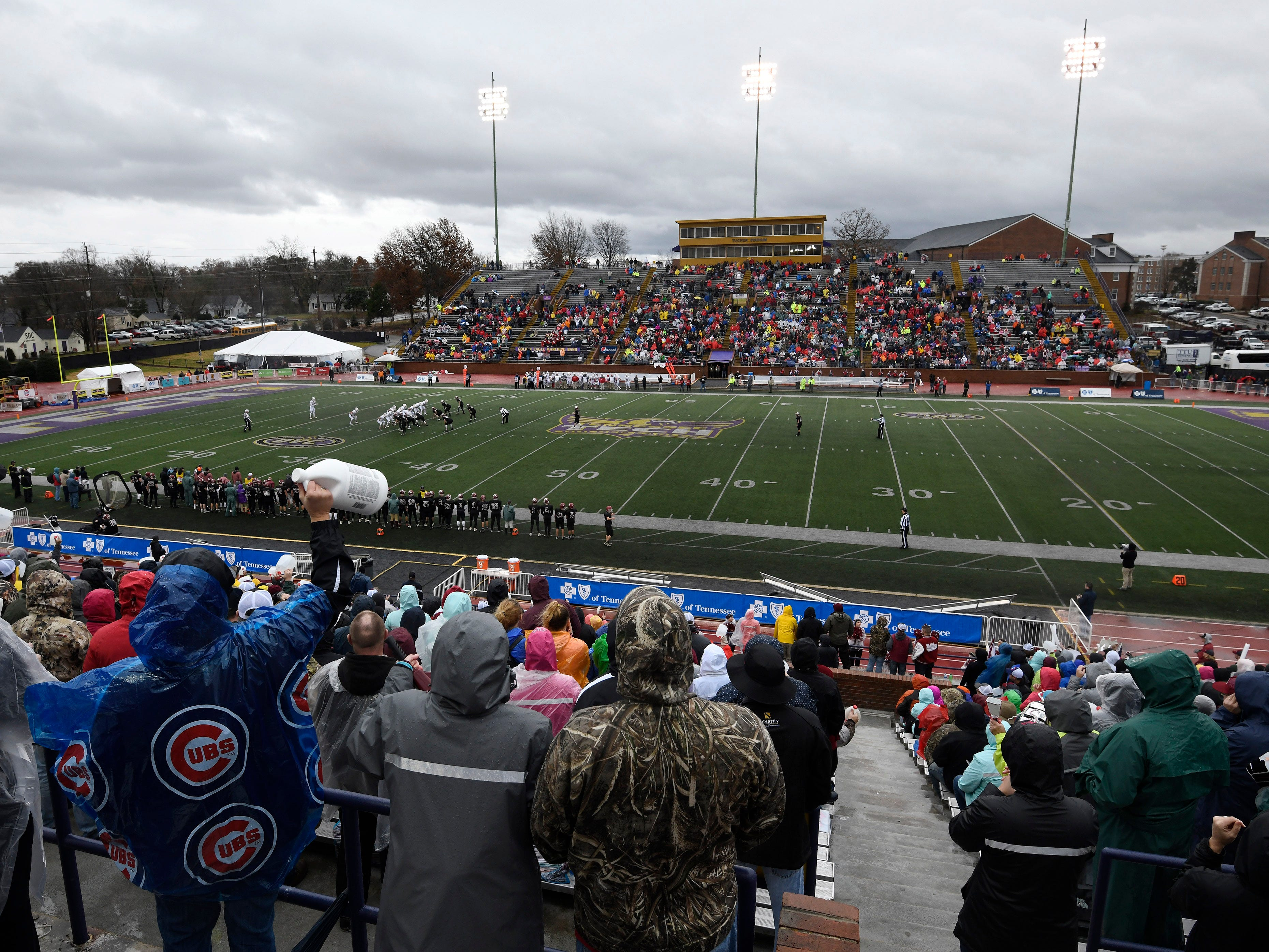 Fans cheer for the Cornersville and Whitwell at the Class I-A BlueCross Bowl state championship at Tennessee Tech's Tucker Stadium in Cookeville, Tenn., on Saturday, Dec. 1, 2018.