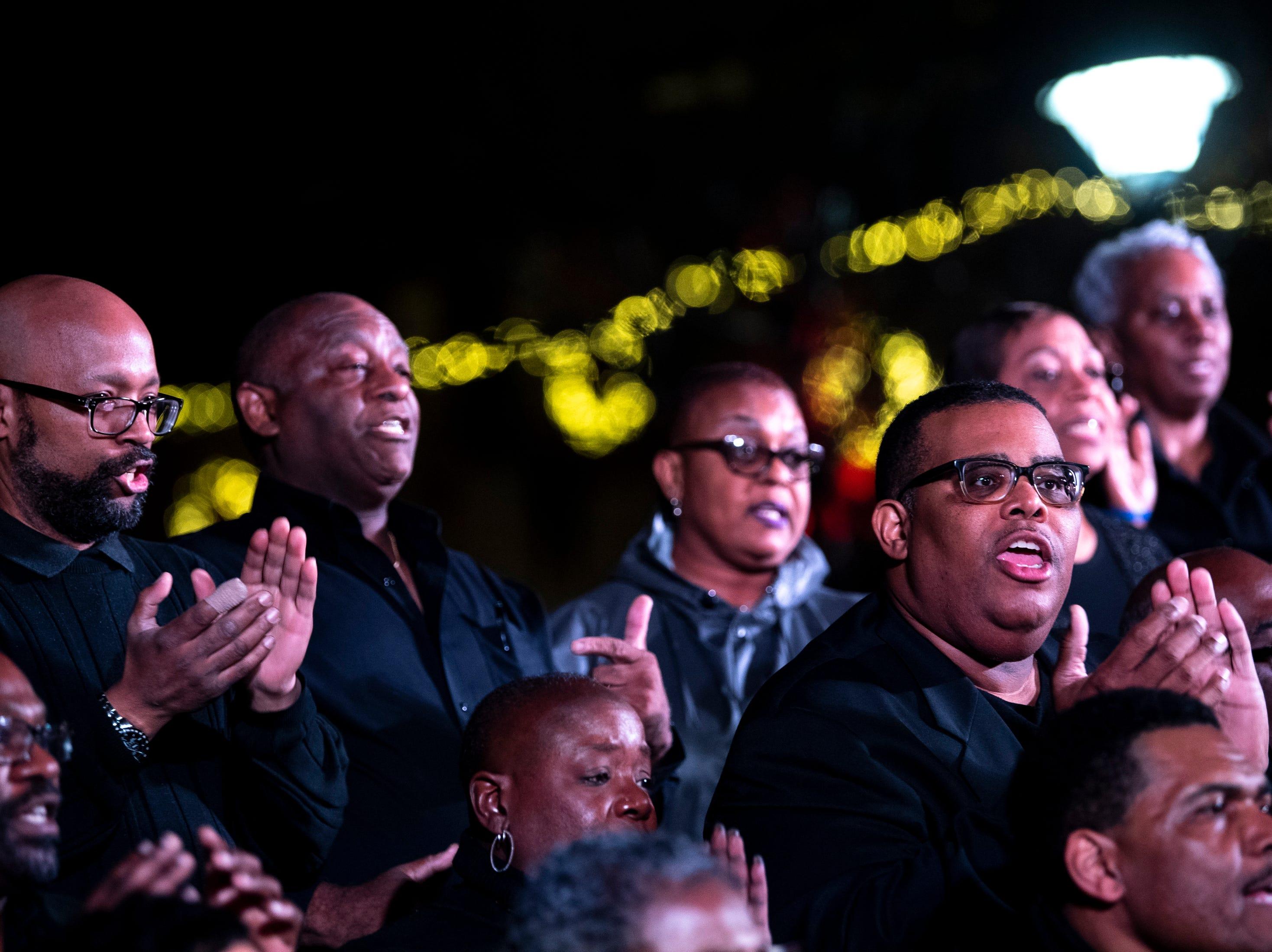 The Lake Providence Missionary Baptist Church Choir performs during the Metro Nashville Christmas Tree Lighting event at Public Square Park in Nashville, Tenn., Friday, Nov. 30, 2018.