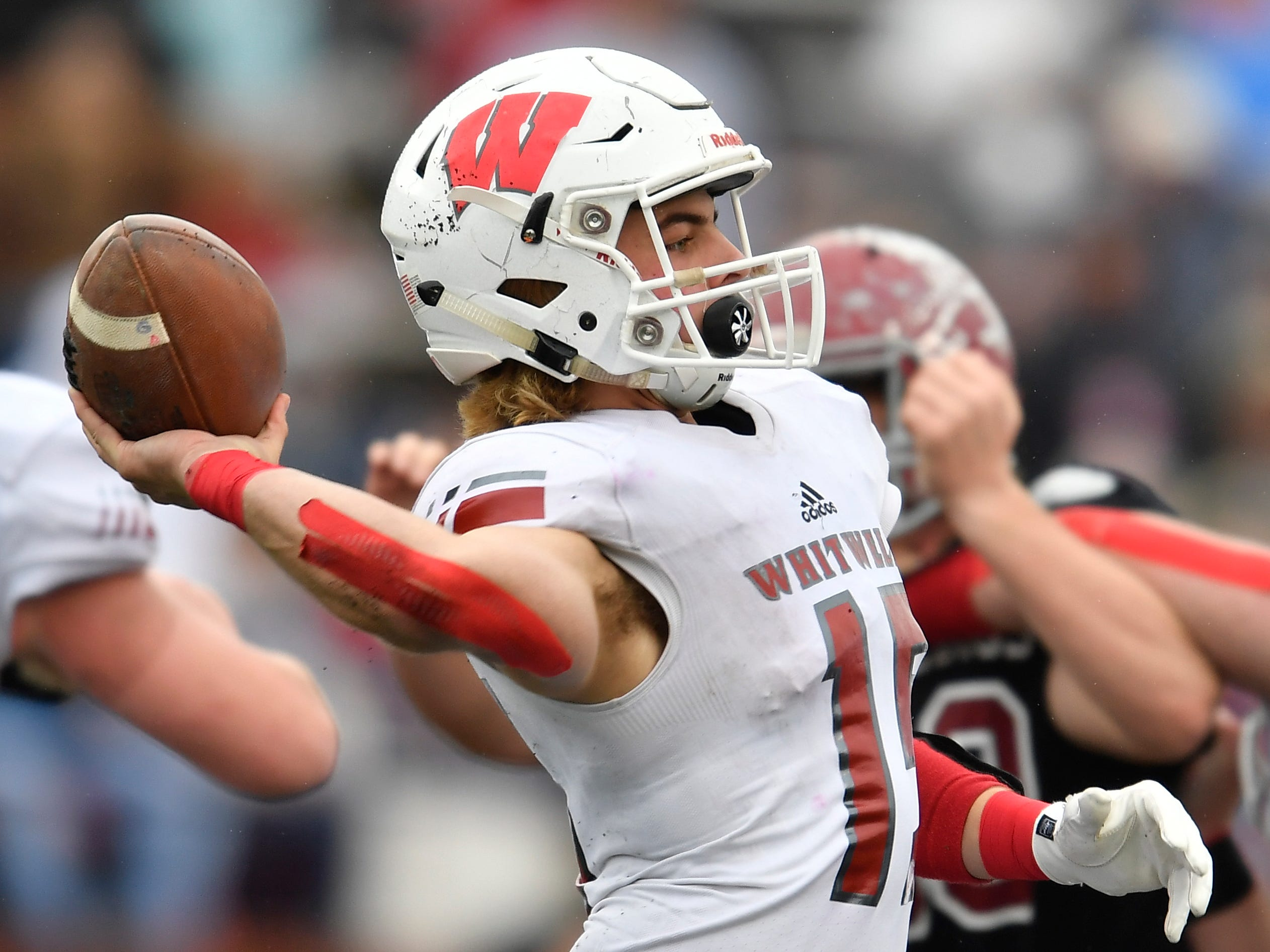 Whitwell quarterback Allen Ashworth (15) throws a pass in the third quarter against Cornersville at the Class I-A BlueCross Bowl state championship at Tennessee Tech's Tucker Stadium in Cookeville, Tenn., on Saturday, Dec. 1, 2018.