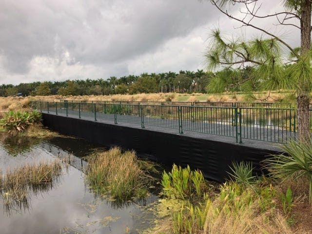 The Jasper Contractors Spectator Bridge is a new feature at the PGA Tour's 2018 QBE Shootout at Tiburón Golf Club. The bridge allows fans to walk from No. 1 tee across to Nos. 9 and 18 fairways.