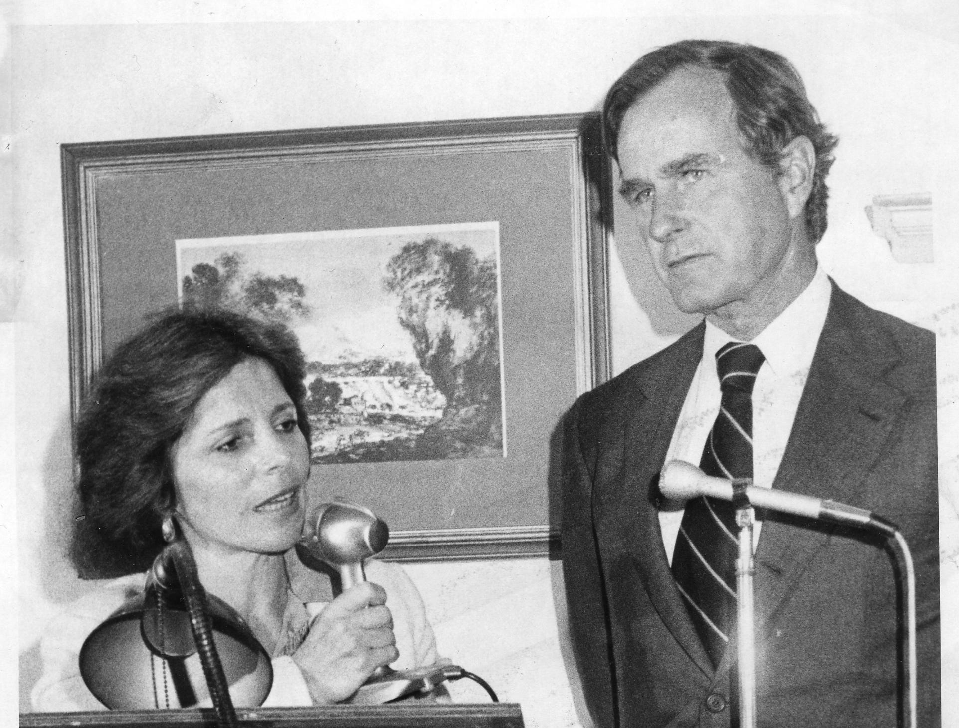 Margaret S. Roukema, candidate for Congress in the Seventh District, introducing George Bush, former U.N. Ambassador and GOP national chairman to guests at a businessmanÕs luncheon recently at the Hackensack Golf Club in Oradell. OCT 5 1978