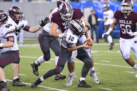 Wayne Hills football vs. Phillipsburg in North Group 4 Bowl Game at MetLife Stadium in East Rutherford on Friday, November 30, 2018. WH #72 Bence Polgar tackles P QB #10 Jack Stagaard in the fourth quarter.