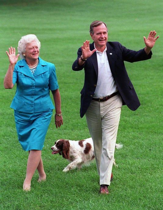 George H W Bush Barbara Bush Millie