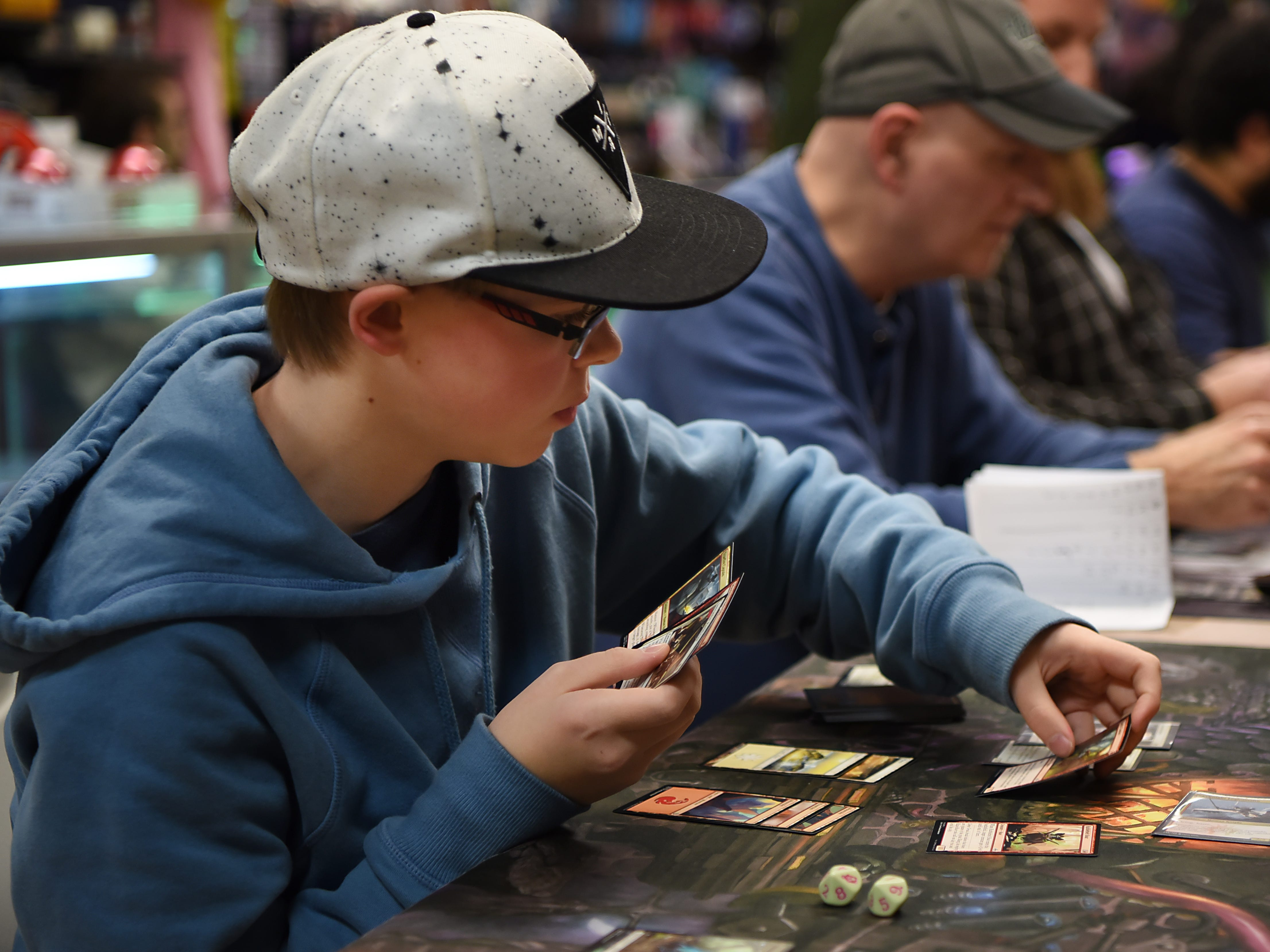 Leo Hutcheson - 13 from Pompton Lakes plays Magic: The Gathering at Level 1 Games in Pompton Plains on Friday November 30, 2018.