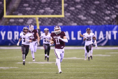 Wayne Hills football vs. Phillipsburg in North Group 4 Bowl Game at MetLife Stadium in East Rutherford on Friday, November 30, 2018. WH #11 Jaaron Hayek on his way to scoring a touchdown in the first quarter.
