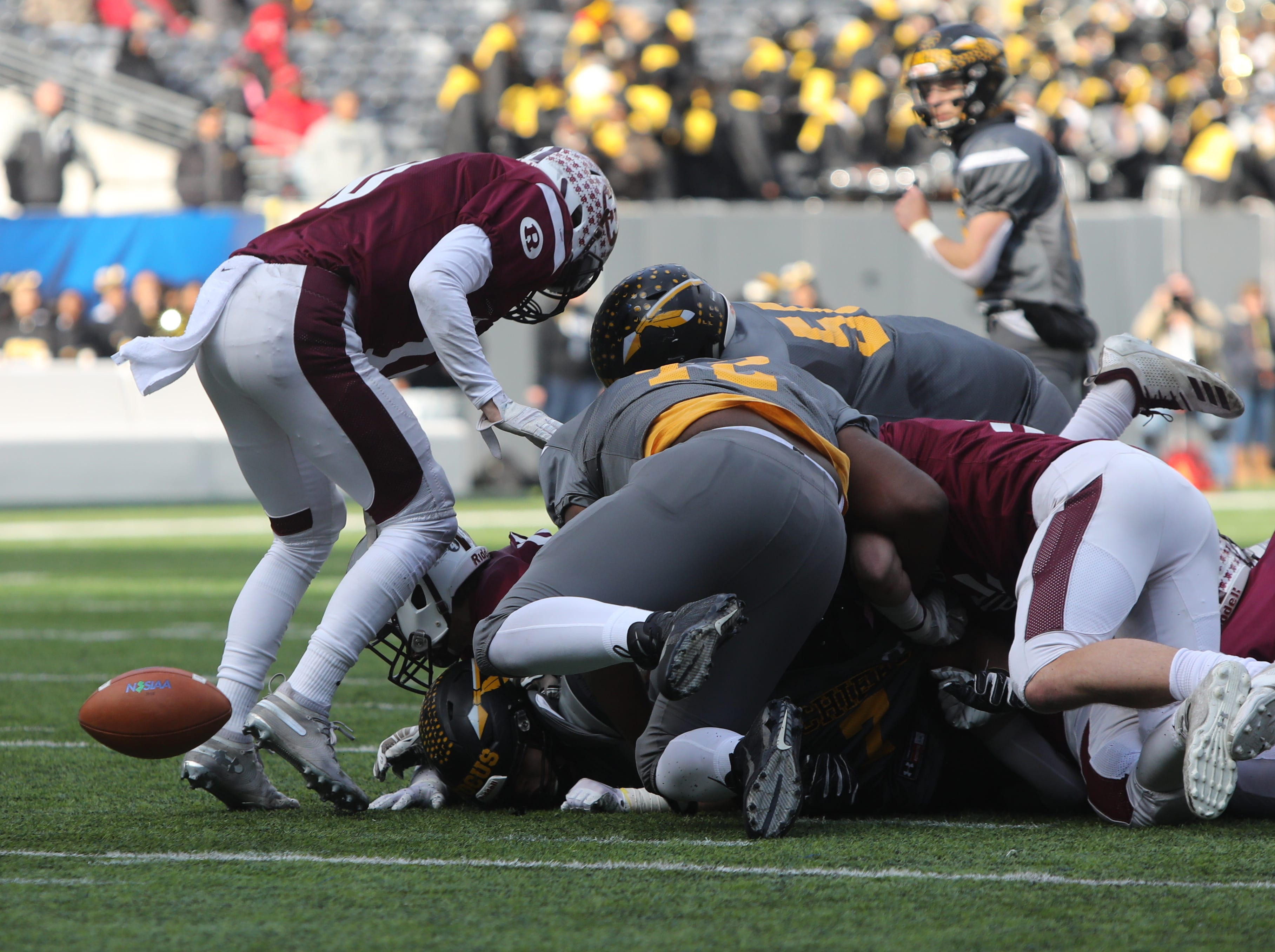 A Piscataway fumble that gets picked up by offensive lineman Jordan Martell of Piscataway for a second quarter TD.