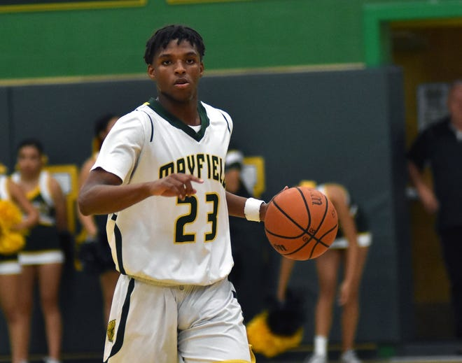 Mayfield guard Jorell Satefield, pictured here earlier in the year, tallied 33 points in the Trojans' 70-50 road victory over Gadsden on Tuesday, Jan. 22, 2019.