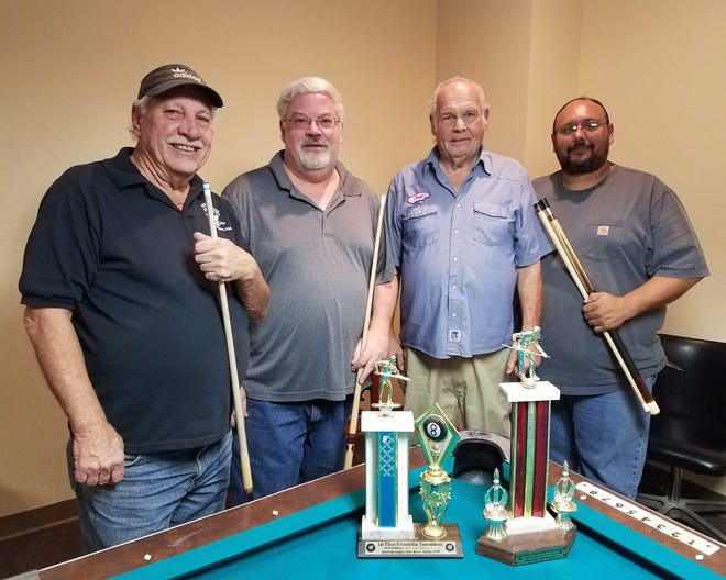 """The Friendship Pool winners for November are from left to right: First place Eagles members Larry """"Smitty"""" Smith and Douglas Beard; and second place Elks members Lloyd Miller and Joseph Herrera."""