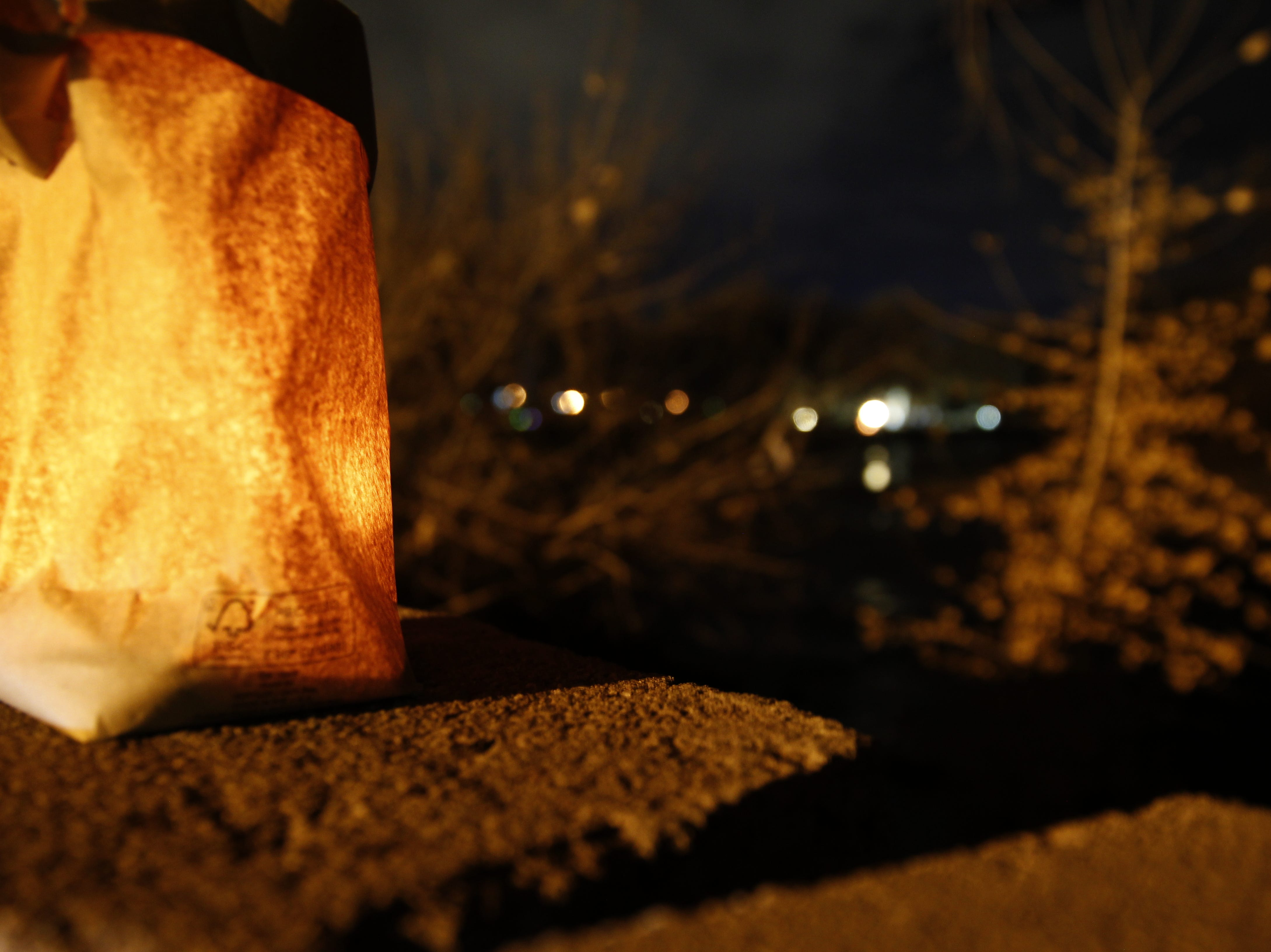 A luminaria is pictured, Friday, Nov. 30, 2018, during Riverglo in Berg Park in Farmington.