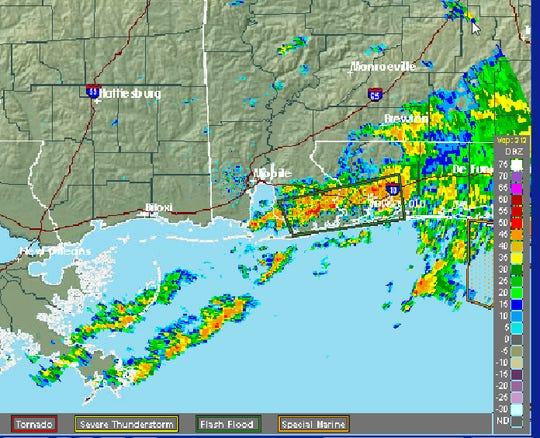 Weather radar Saturday afternoon.