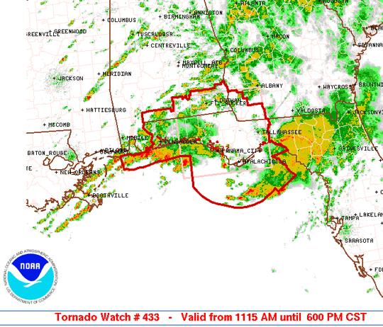 A tornado watch is in effect until 6 p.m. Saturday.