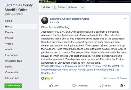 ECSO Facebook post
