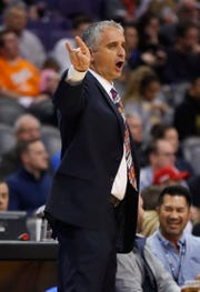 Suns coach Igor Kokoskov shouts instructions to his team during a game against the Magic on Nov. 30 at Talking Stick Resort Arena.
